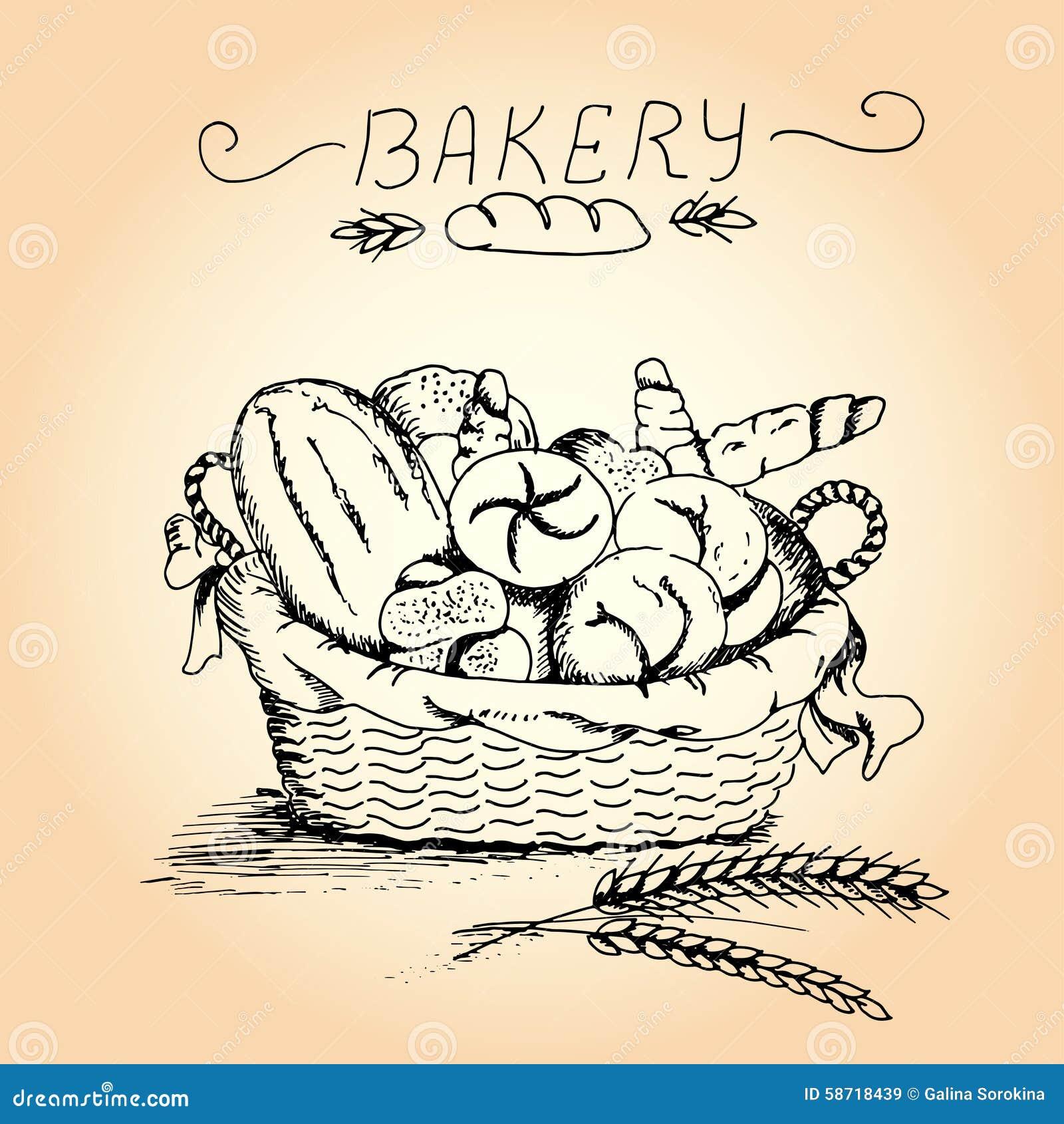 Hand getrokken bakkerij in de mand