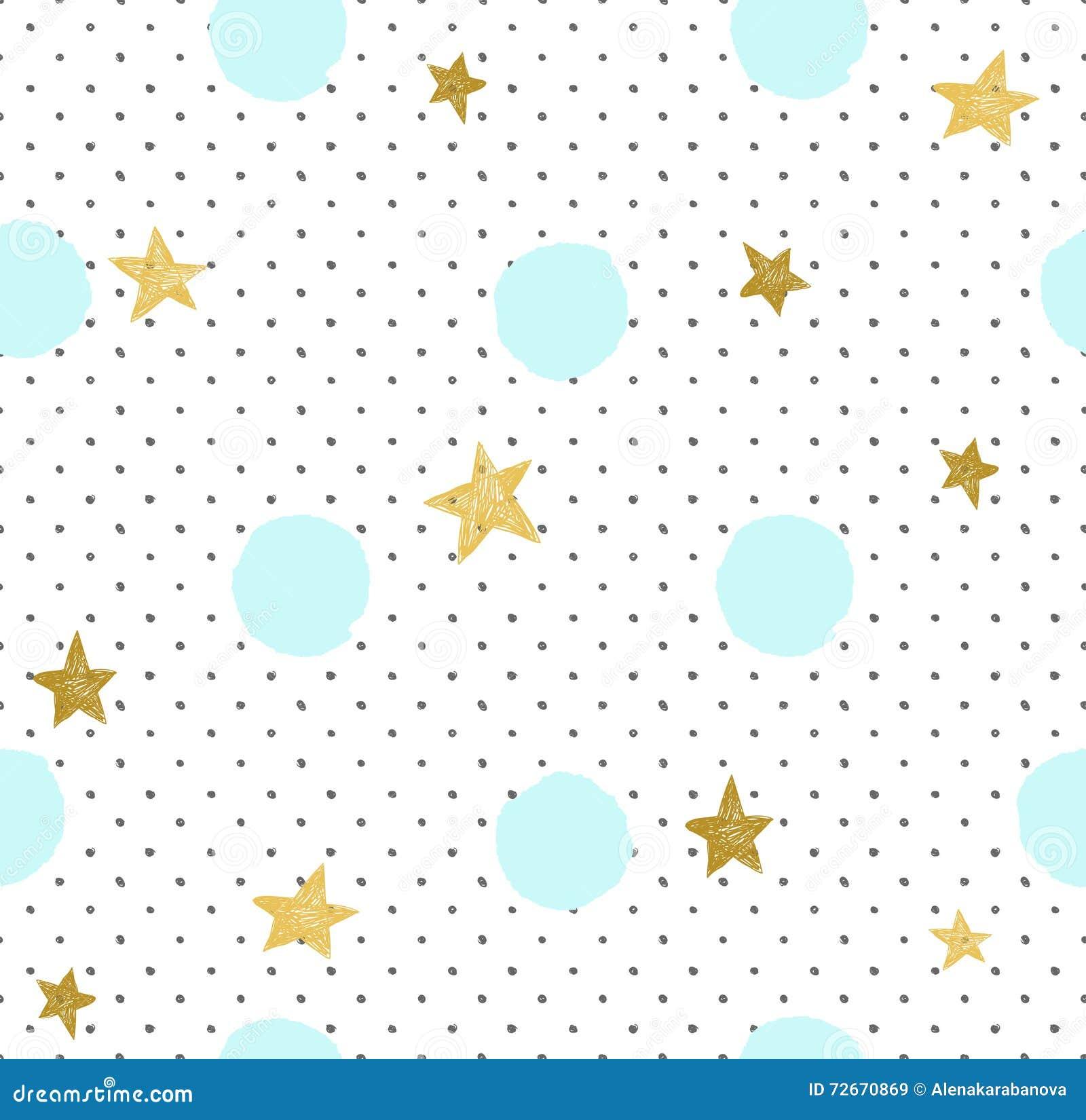 Hand getrokken creatieve achtergrond Eenvoudig minimalistic naadloos patroon met gouden sterren en blauwe cirkels