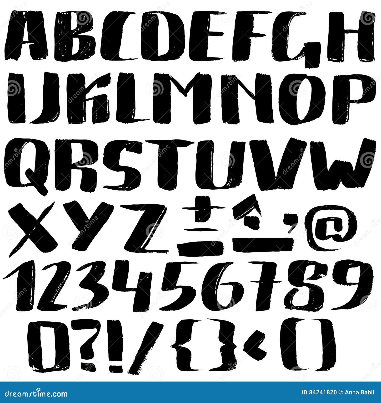Hand getrokken die doopvont door droge borstelslagen wordt gemaakt Het alfabet van de Grungestijl