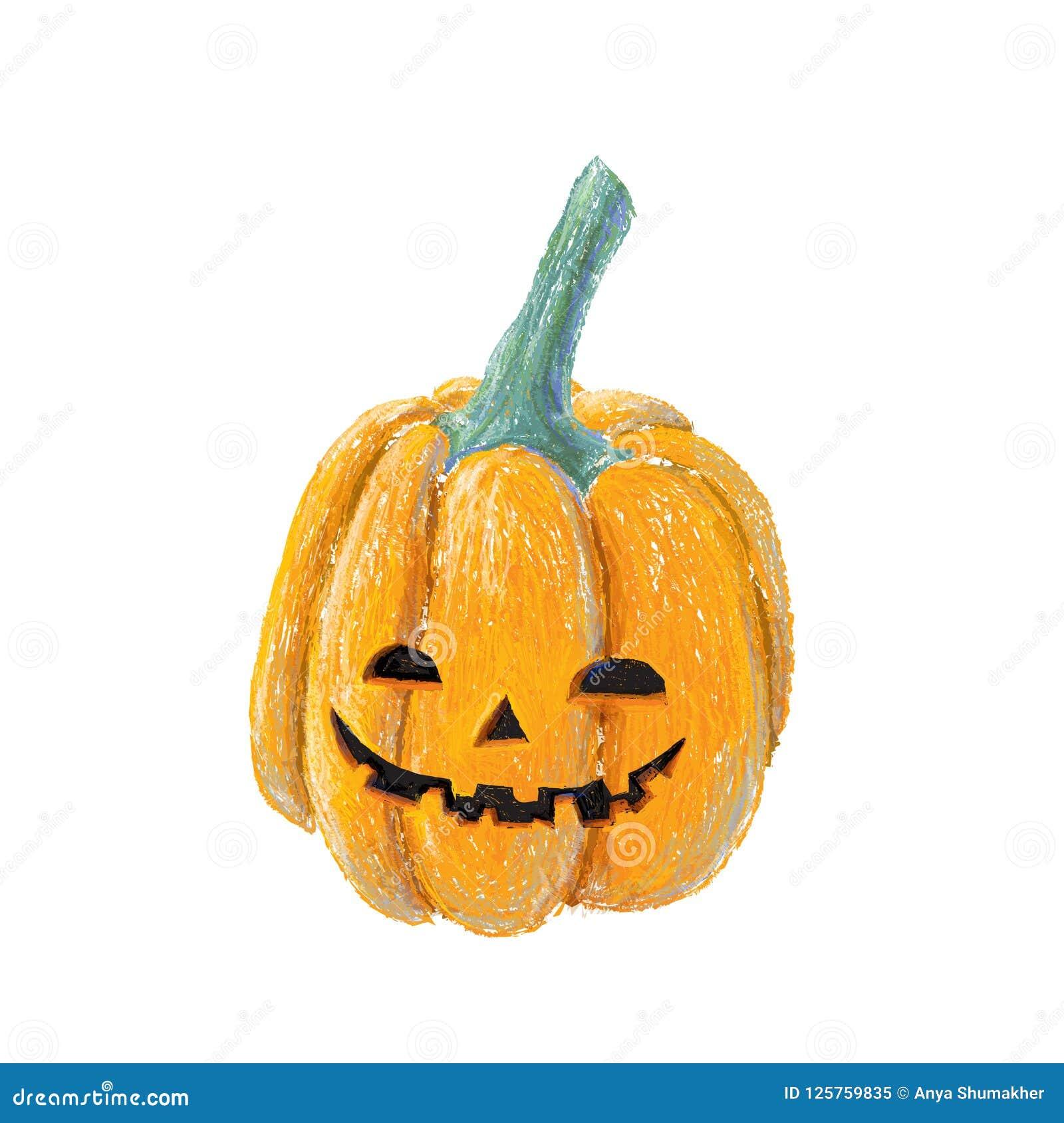 Halloween Tekeningen Pompoen.Hand Getrokken Die Het Glimlachen Pompoen Op Witte