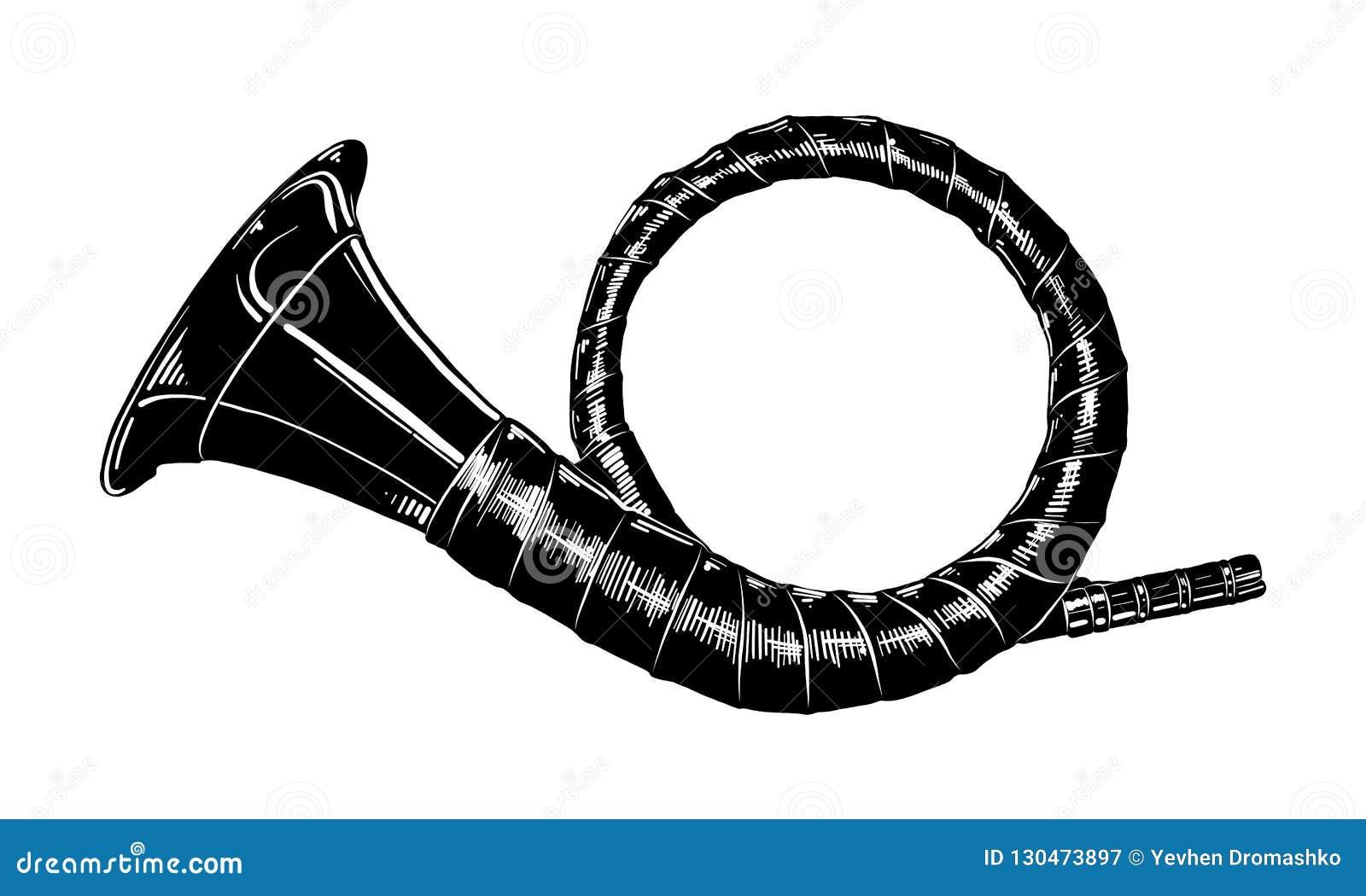 Hand getrokken die schets van de jachthoorn in zwarte op witte achtergrond wordt geïsoleerd De gedetailleerde uitstekende tekenin