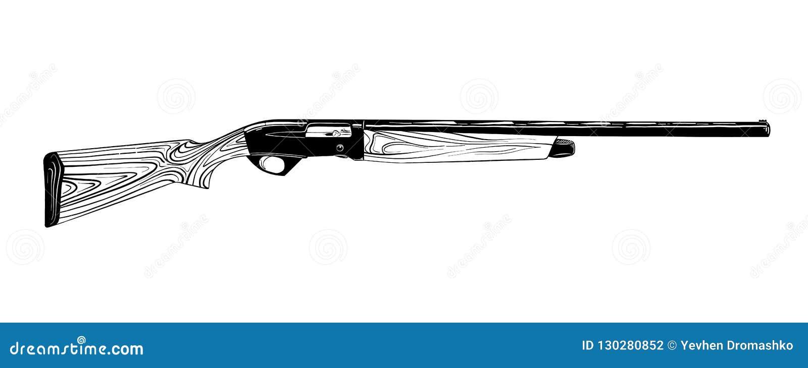 Hand getrokken die schets van de jachtkanon in zwarte op witte achtergrond wordt geïsoleerd De gedetailleerde uitstekende tekenin