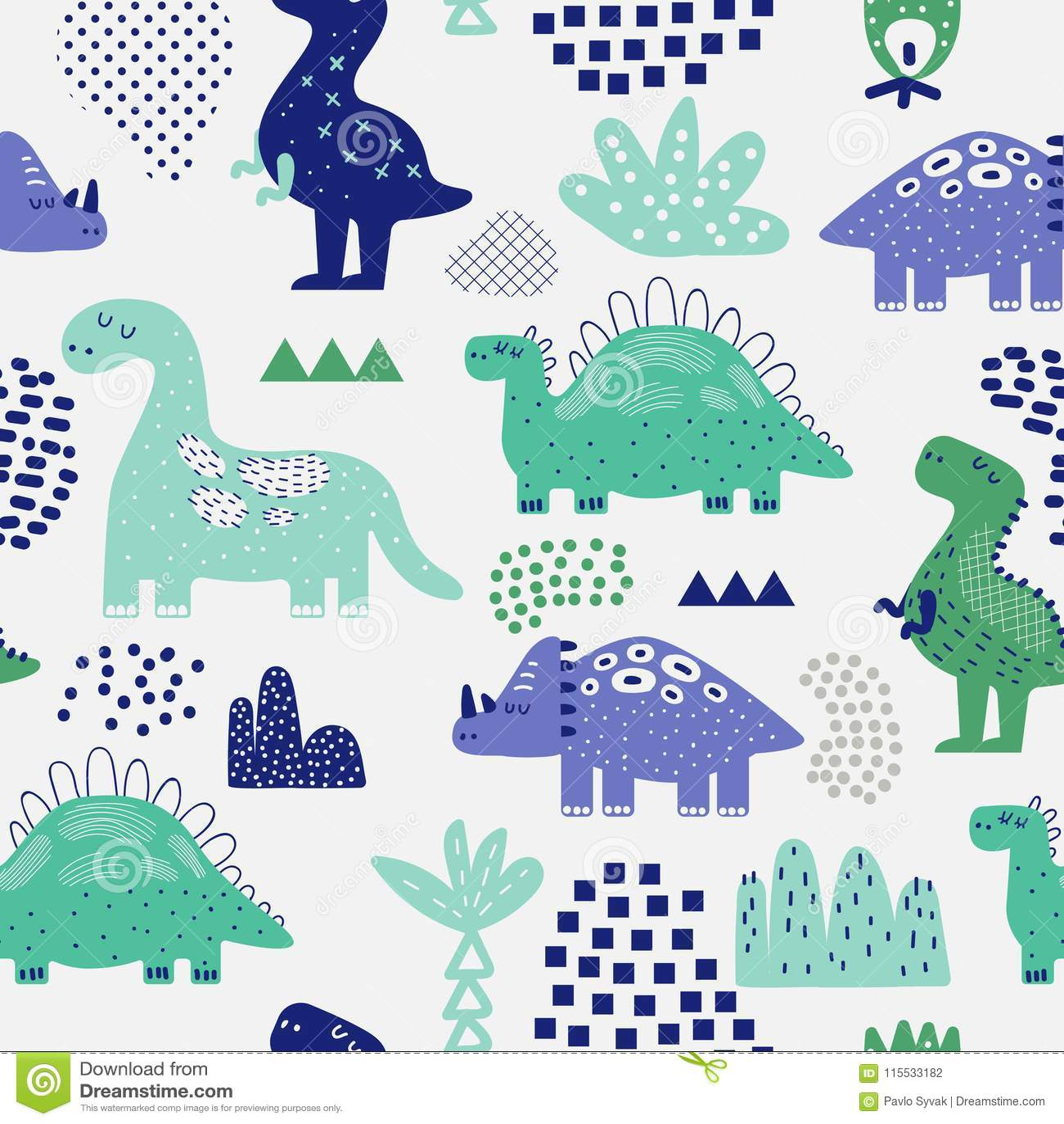 Hand Getrokken Dinosaurussen Naadloos Patroon Creatieve Kinderachtige Achtergrond met Leuke Dino voor Stof, Textiel