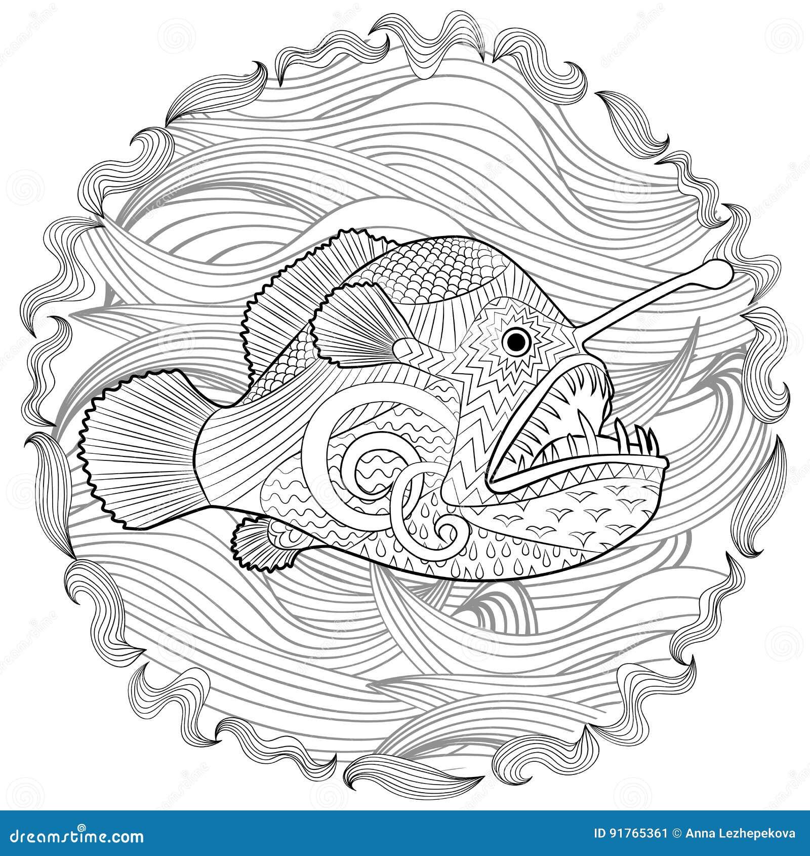 Hand getrokken engelenvissen met hoge details