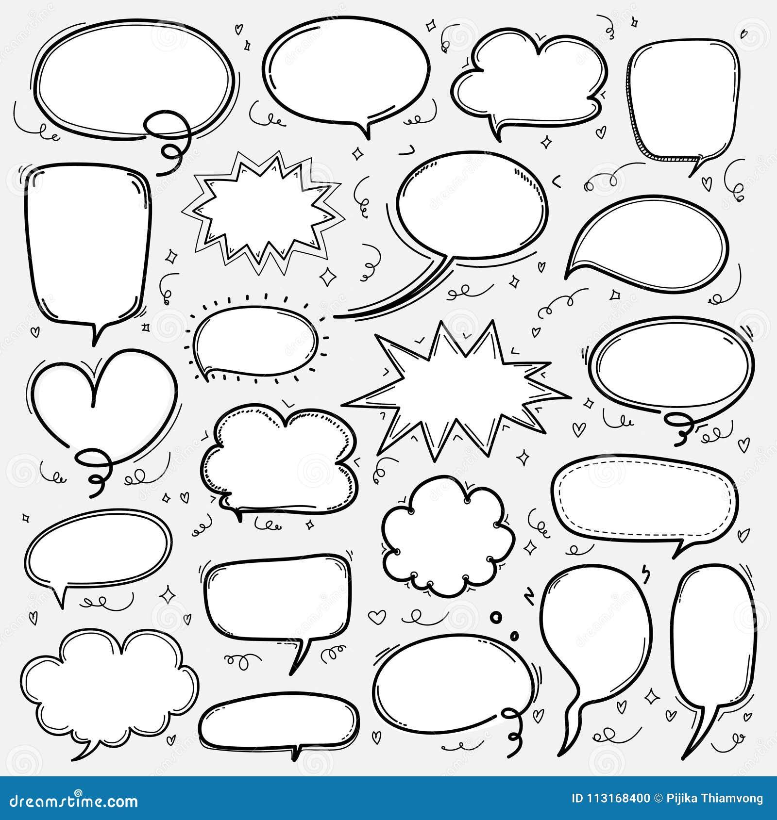 Hand getrokken geplaatste bellen De Grappige Ballon van de krabbelstijl, Wolk Gestalte gegeven Ontwerpelementen