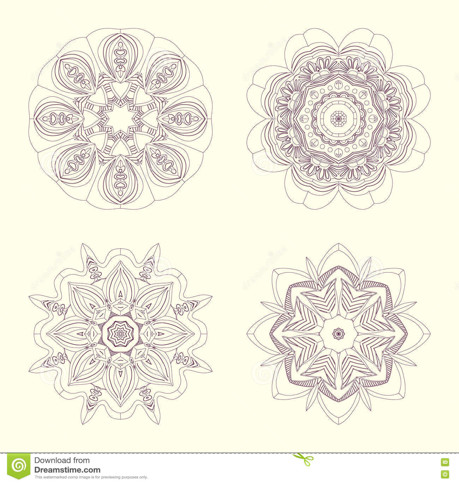 Hand getrokken geplaatste mandalas Ð ¡ ontoured mandalas