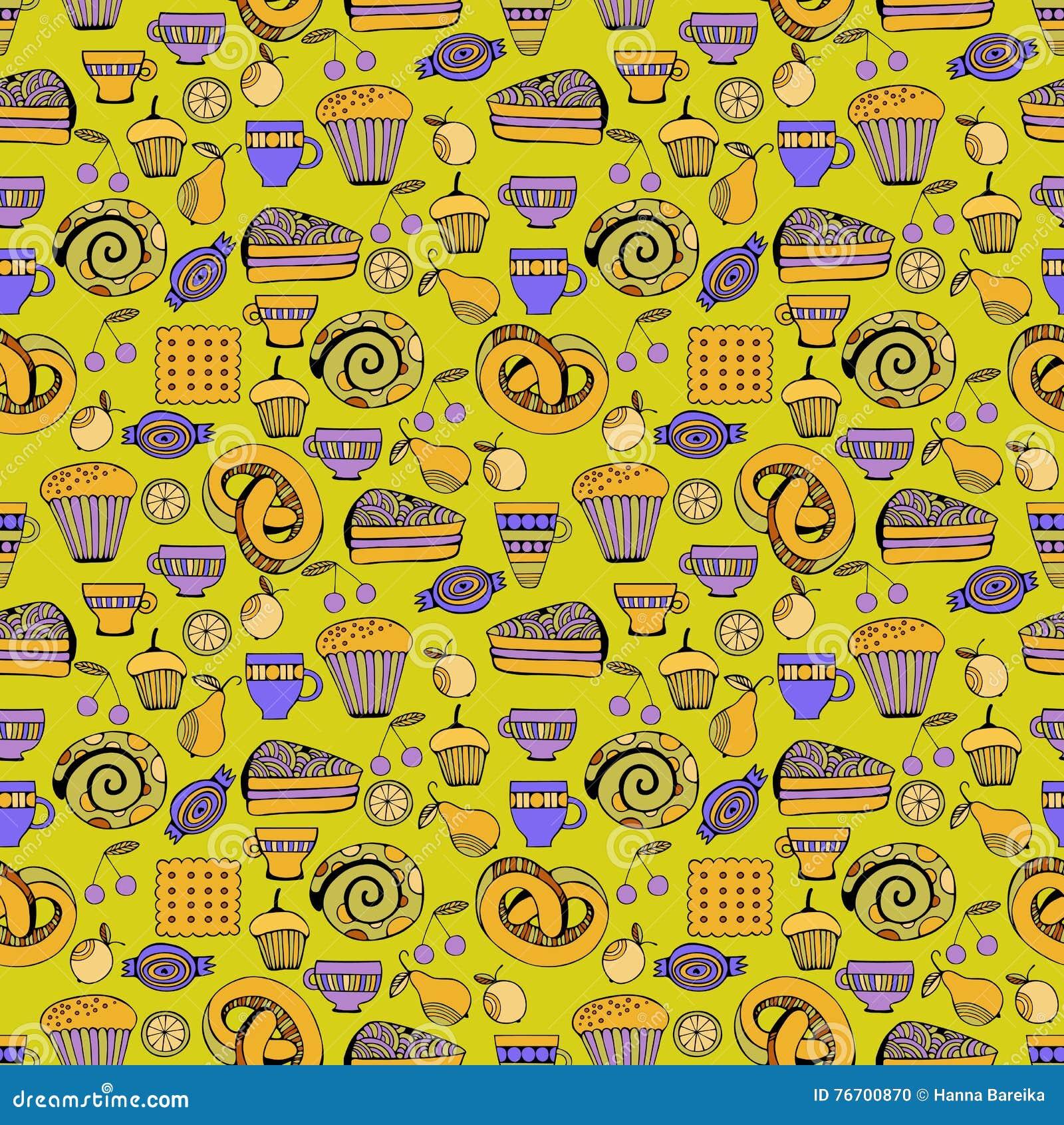 Hand getrokken geplaatste snoepjes en suikergoed Kleurrijk vector naadloos patroon