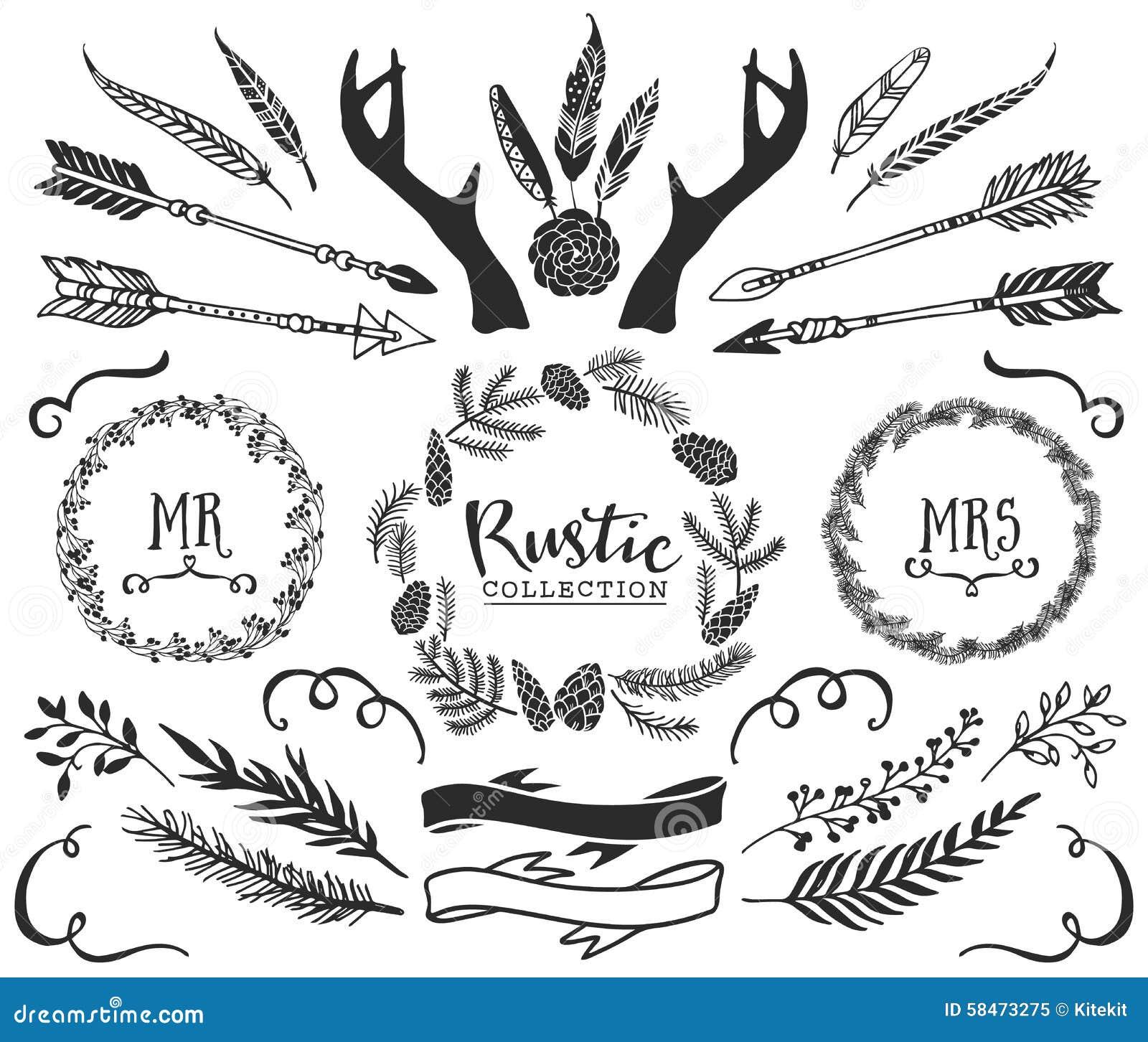 Hand getrokken geweitakken, pijlen, veren, linten en kronen