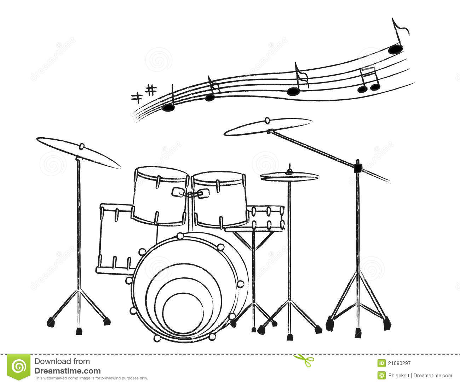 getrokken illustratie een drumstel op witte bac