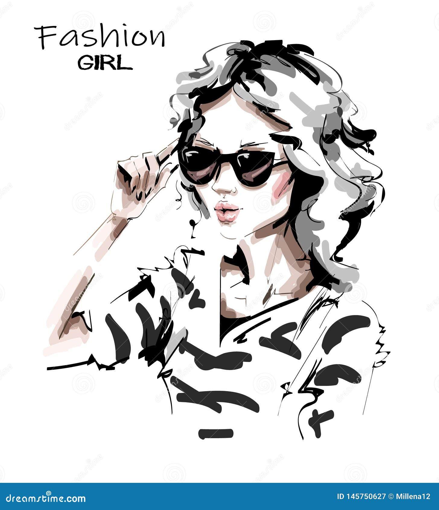 Hand getrokken mooie jonge vrouw in zonnebril Dame in gestreept overhemd Modieus meisje De maniervrouw kijkt schets