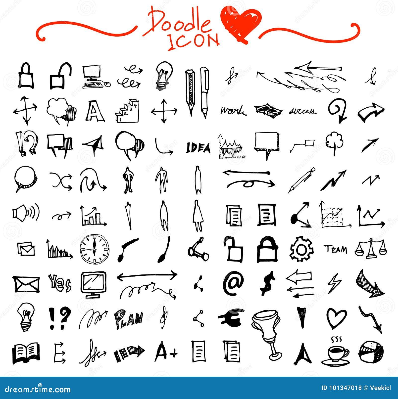 Hand getrokken naadloos krabbelpatroon met bedrijfssymbolen eps10