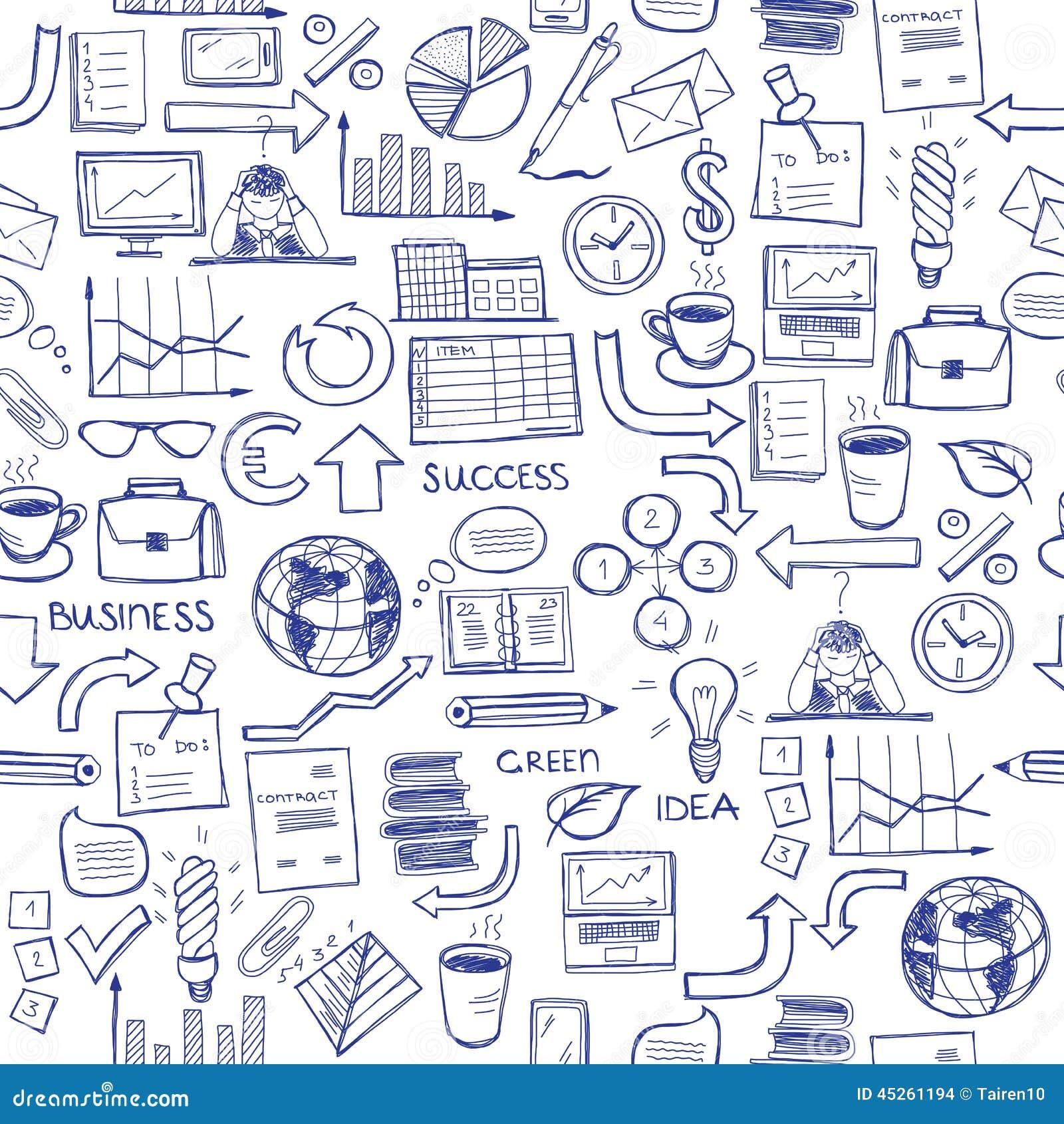 Hand getrokken naadloos patroon met bedrijfssymbolen