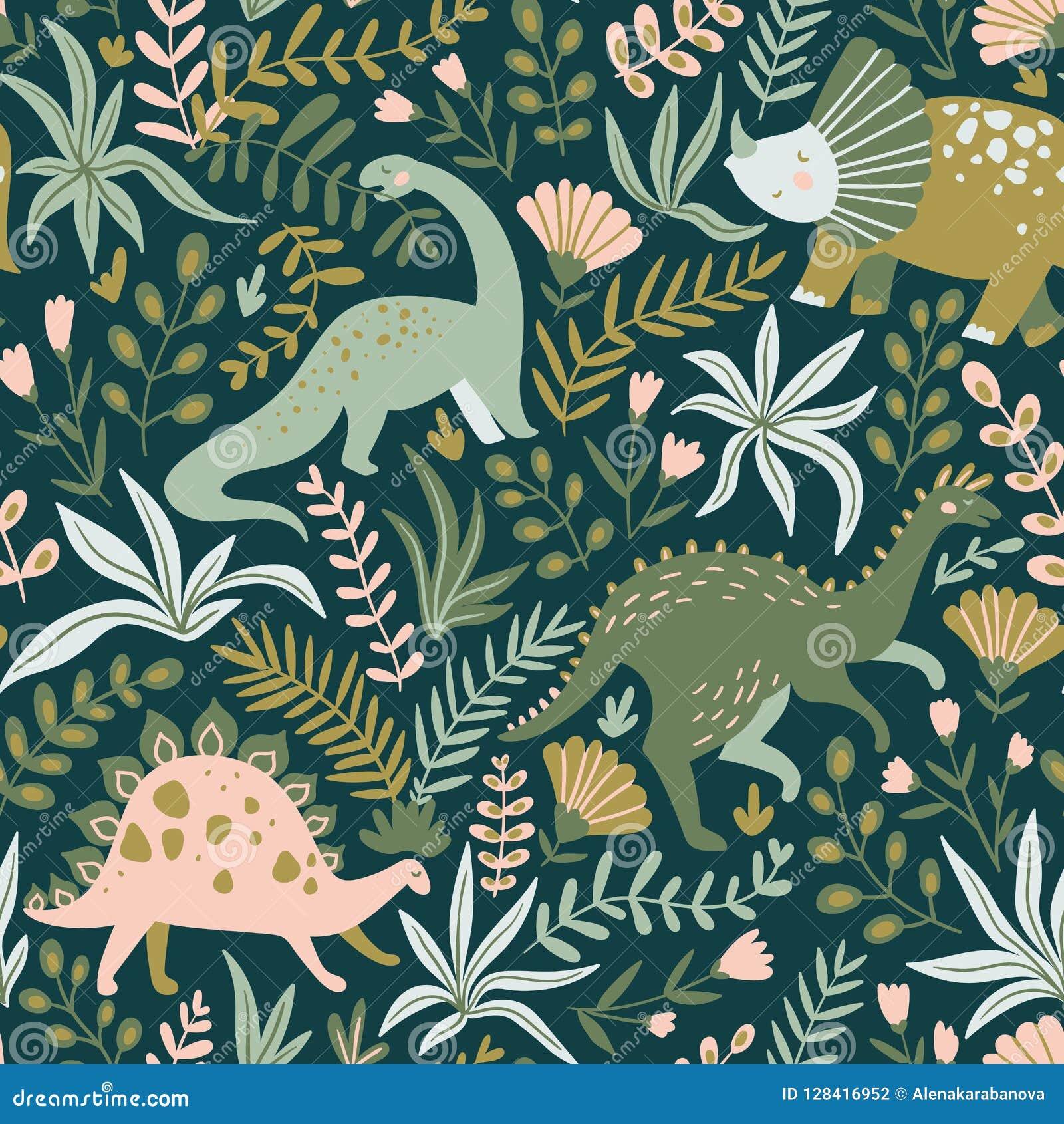 Hand getrokken naadloos patroon met dinosaurussen en tropische bladeren en bloemen Vector illustratie