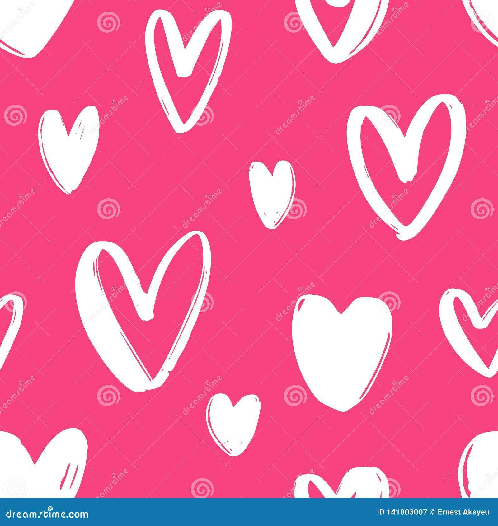 Hand getrokken naadloos patroon met harten op heldere roze achtergrond Feestelijke achtergrond met liefde, hartstocht en Romaans