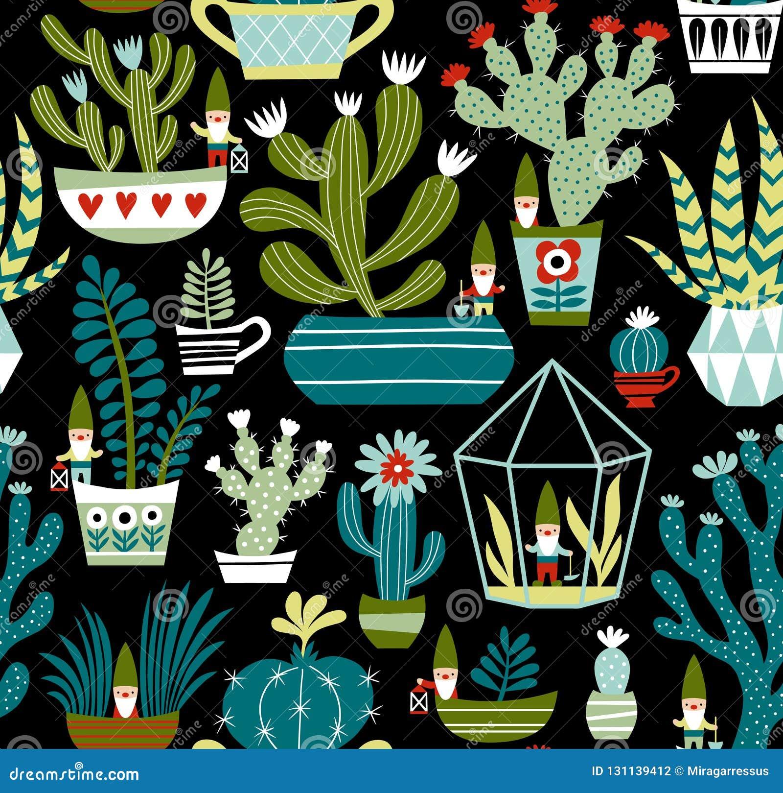 Hand getrokken naadloos vectorpatroon met leuke gnomen, cactussen en succulents op zwarte achtergrond
