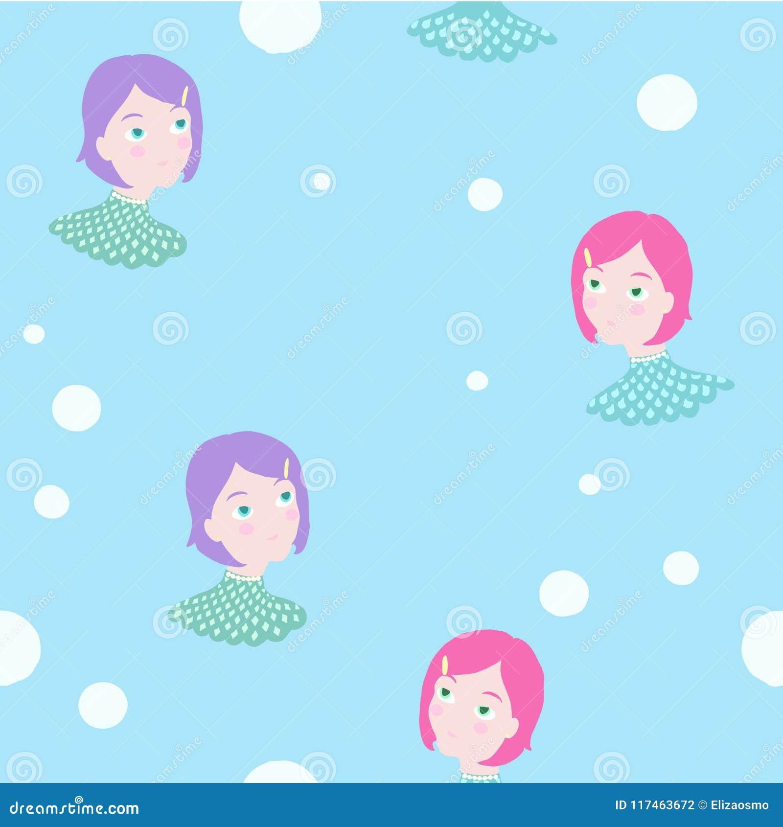 Hand getrokken onderwatermeermin tweelingmeisjes