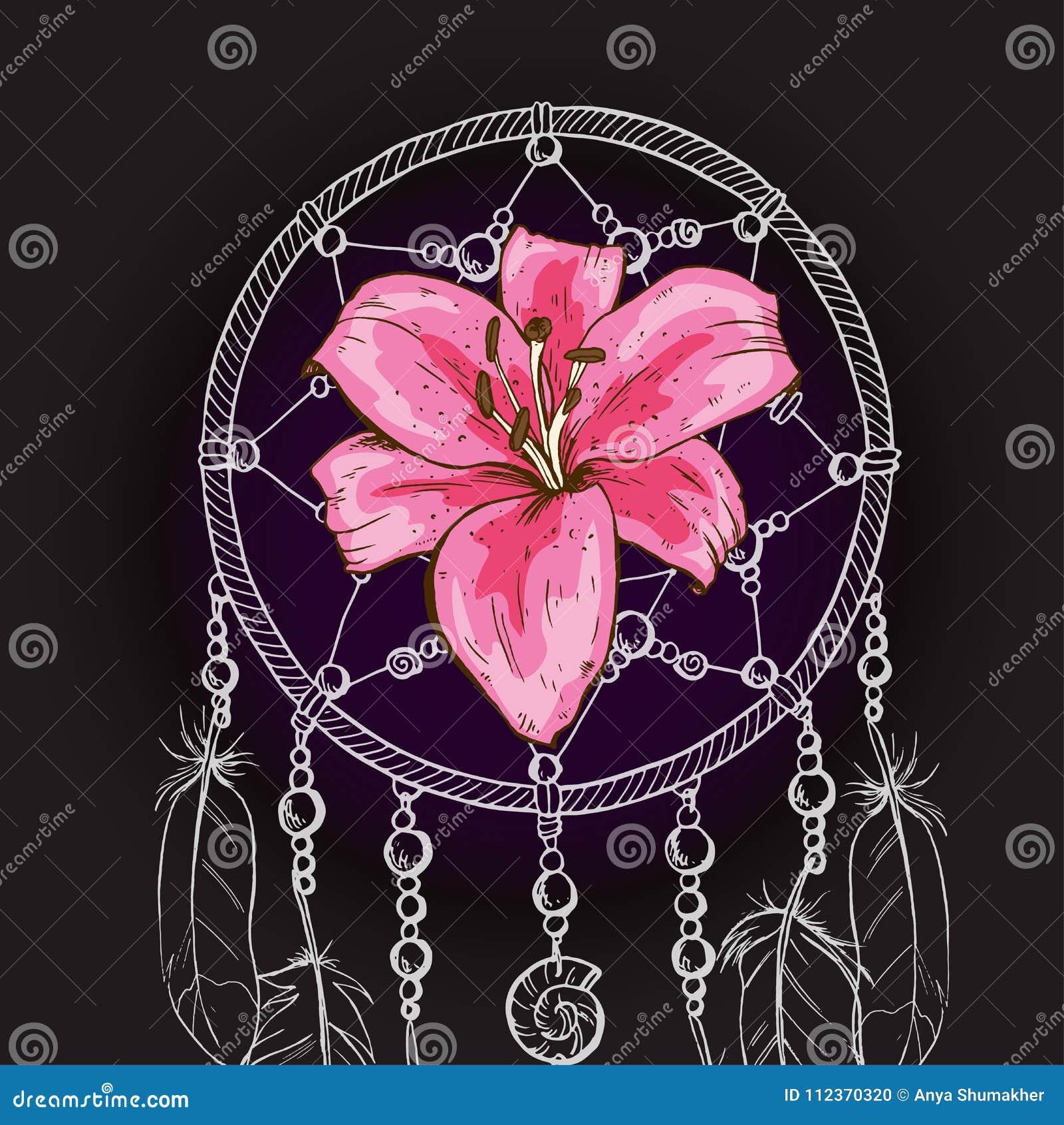 Hand getrokken overladen Droomvanger met roze leliebloem op een zwarte achtergrond Vector illustratie