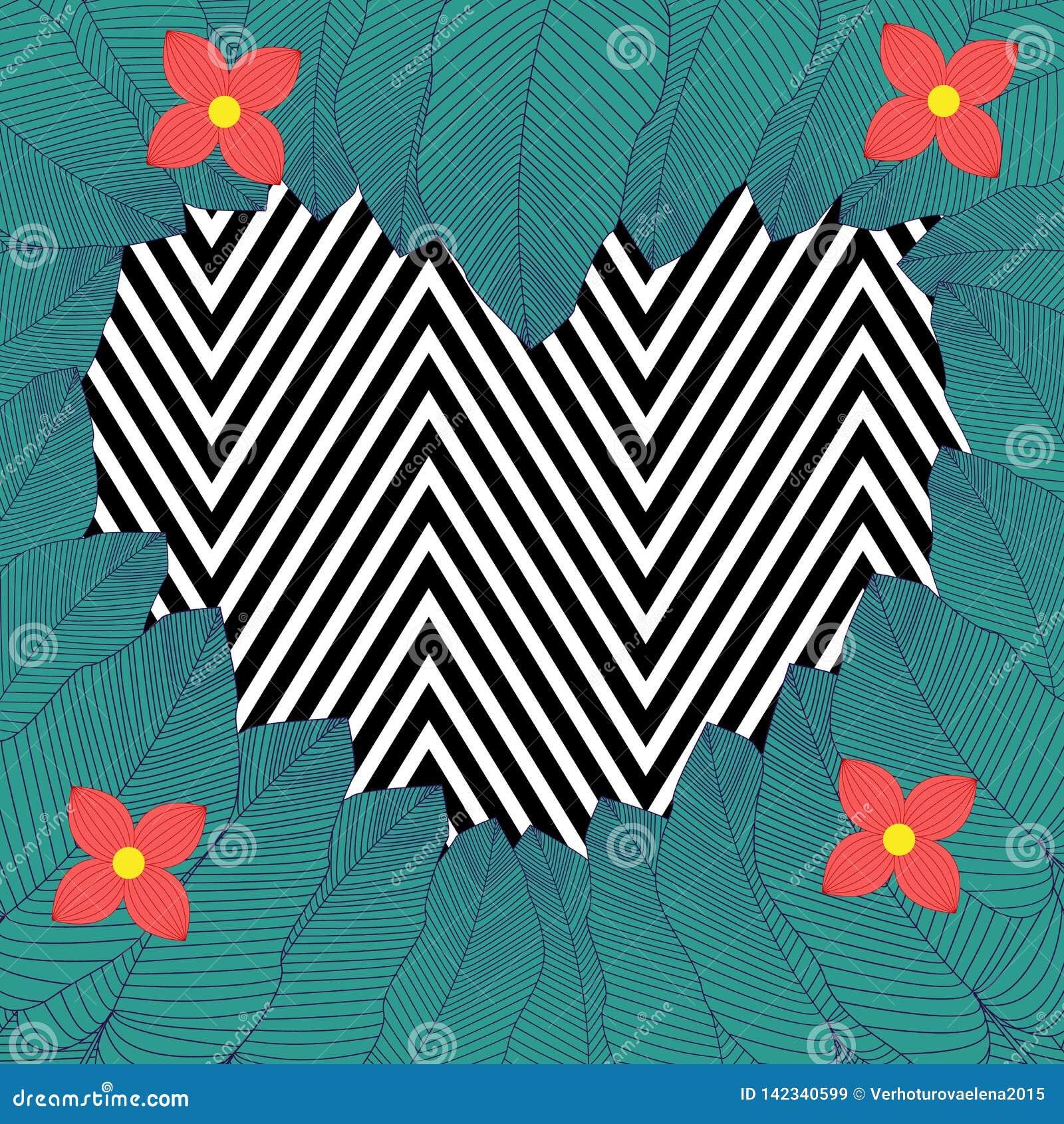 In hand getrokken patroon met kleurrijk banaanblad getrokken overzicht op geometrische zwart-witte achtergrond Tropische bladeren