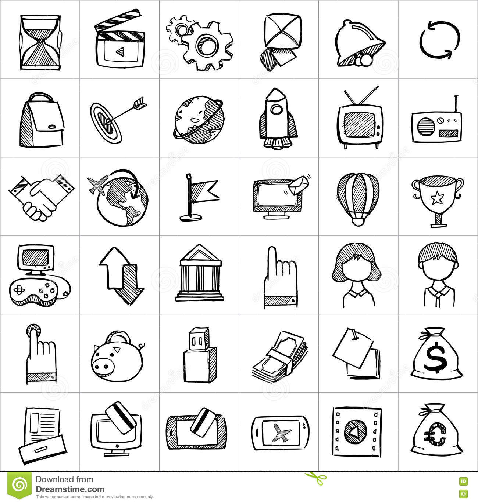 Hand getrokken pictogrammen 004