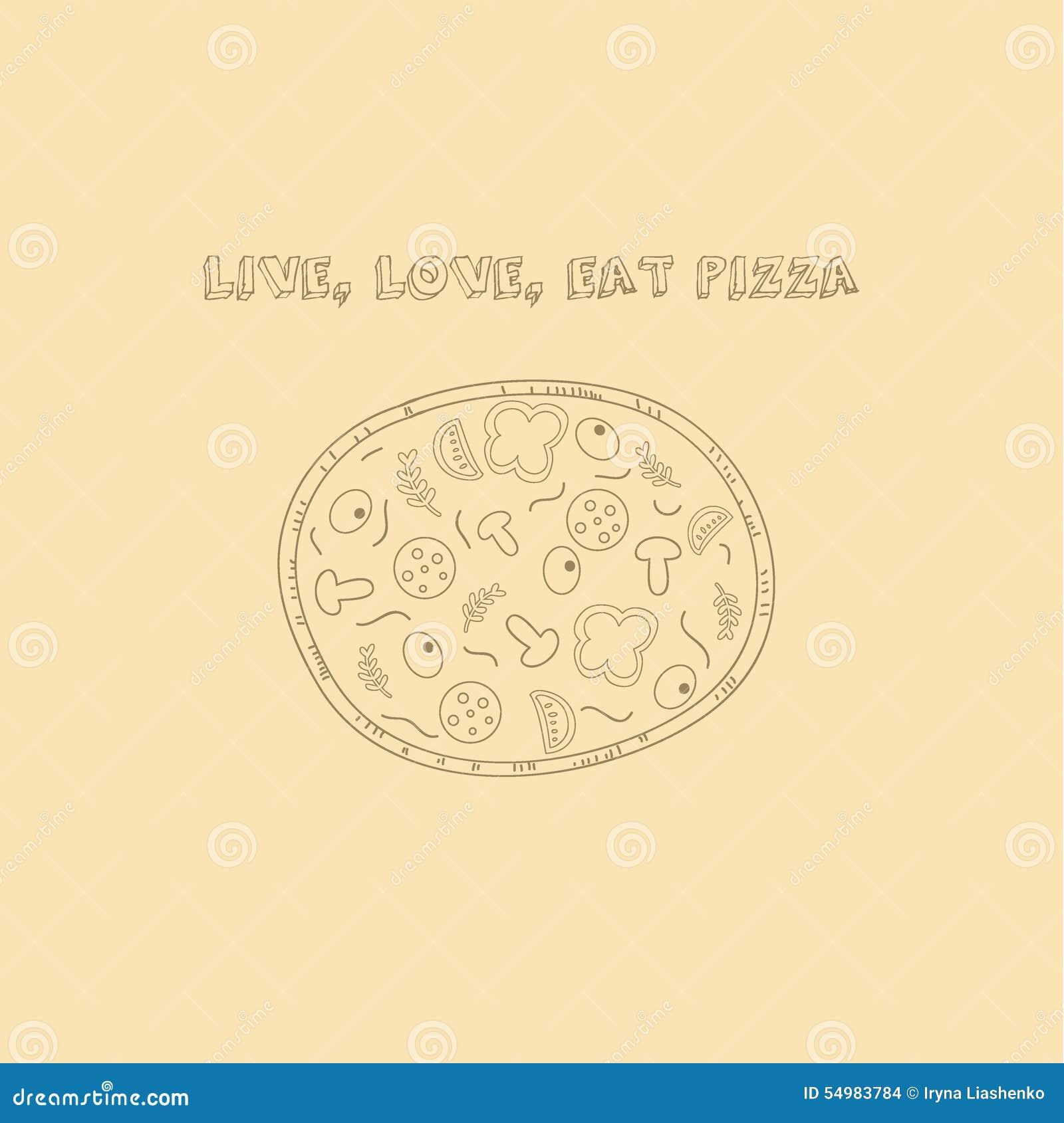 Hand getrokken pizza in retro stijl met slogan