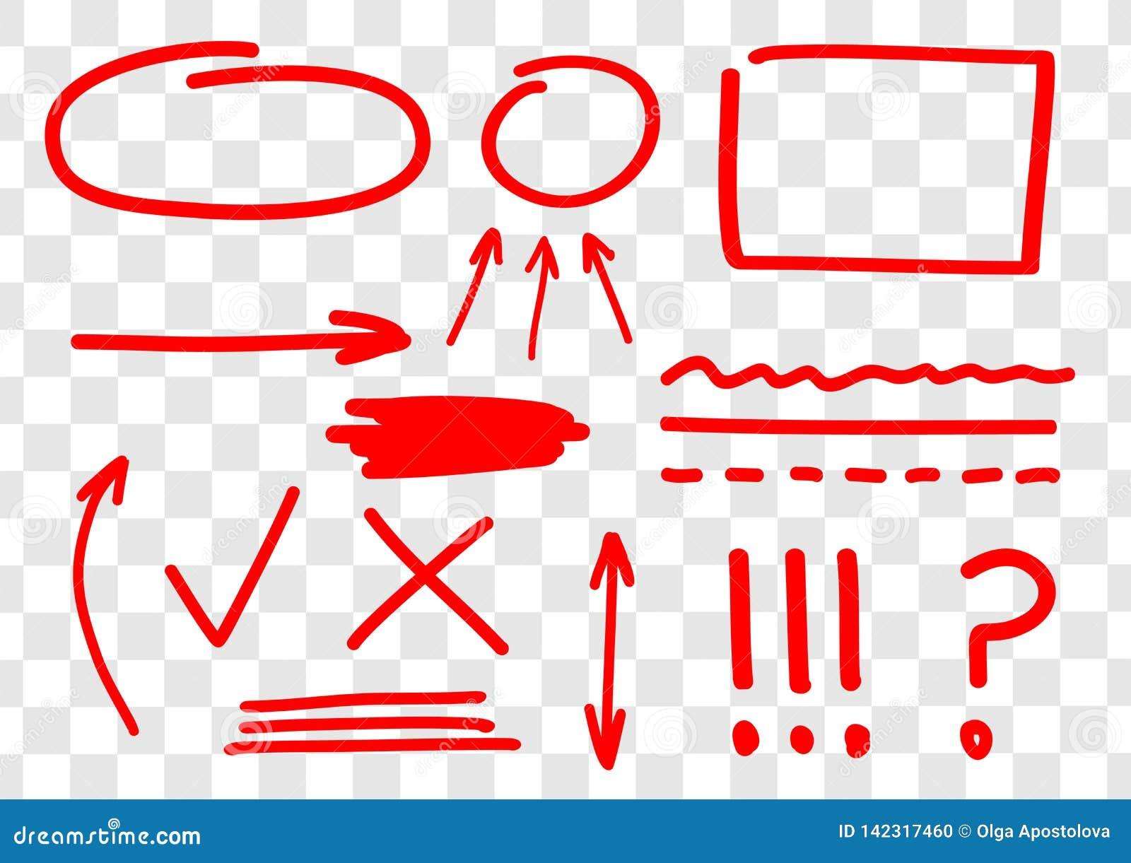 Hand getrokken reeks vector rode tekens, pijlen, ingles, lijnen, amendementen en correcties Rode tellerslijn