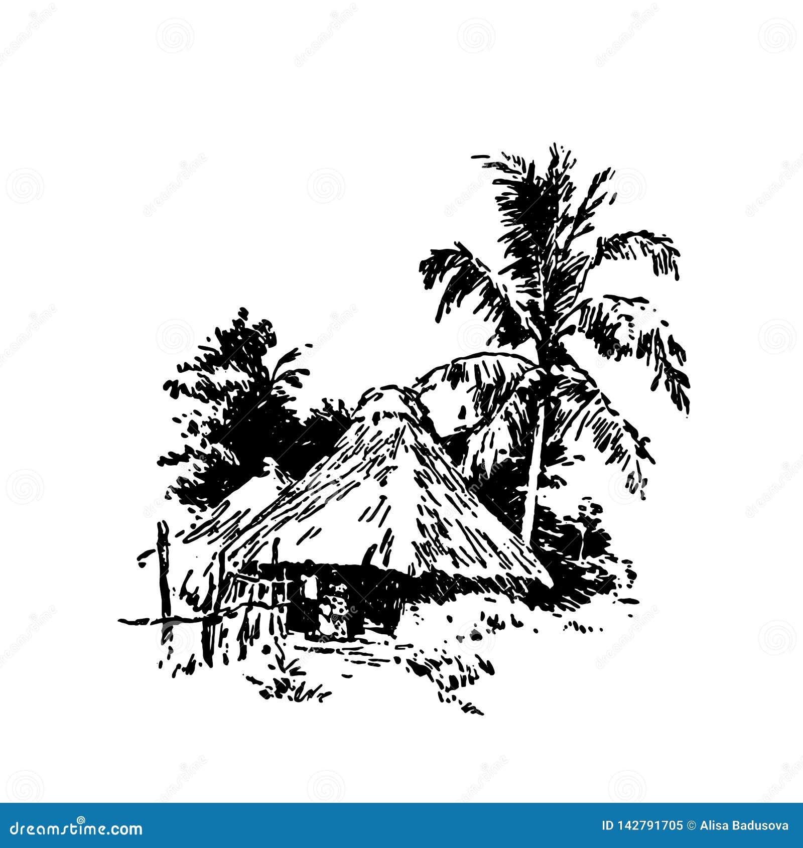 Hand getrokken schets van de Afrikaanse zwarte van het dorpshuis op witte achtergrond