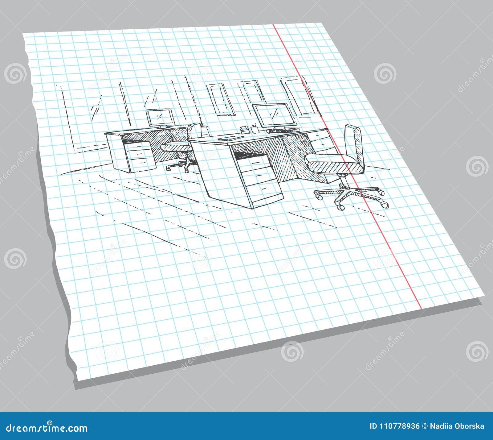 Hand getrokken schets van het binnenland op een notitieboekjeblad Snelle tekening van kantoormeubilair