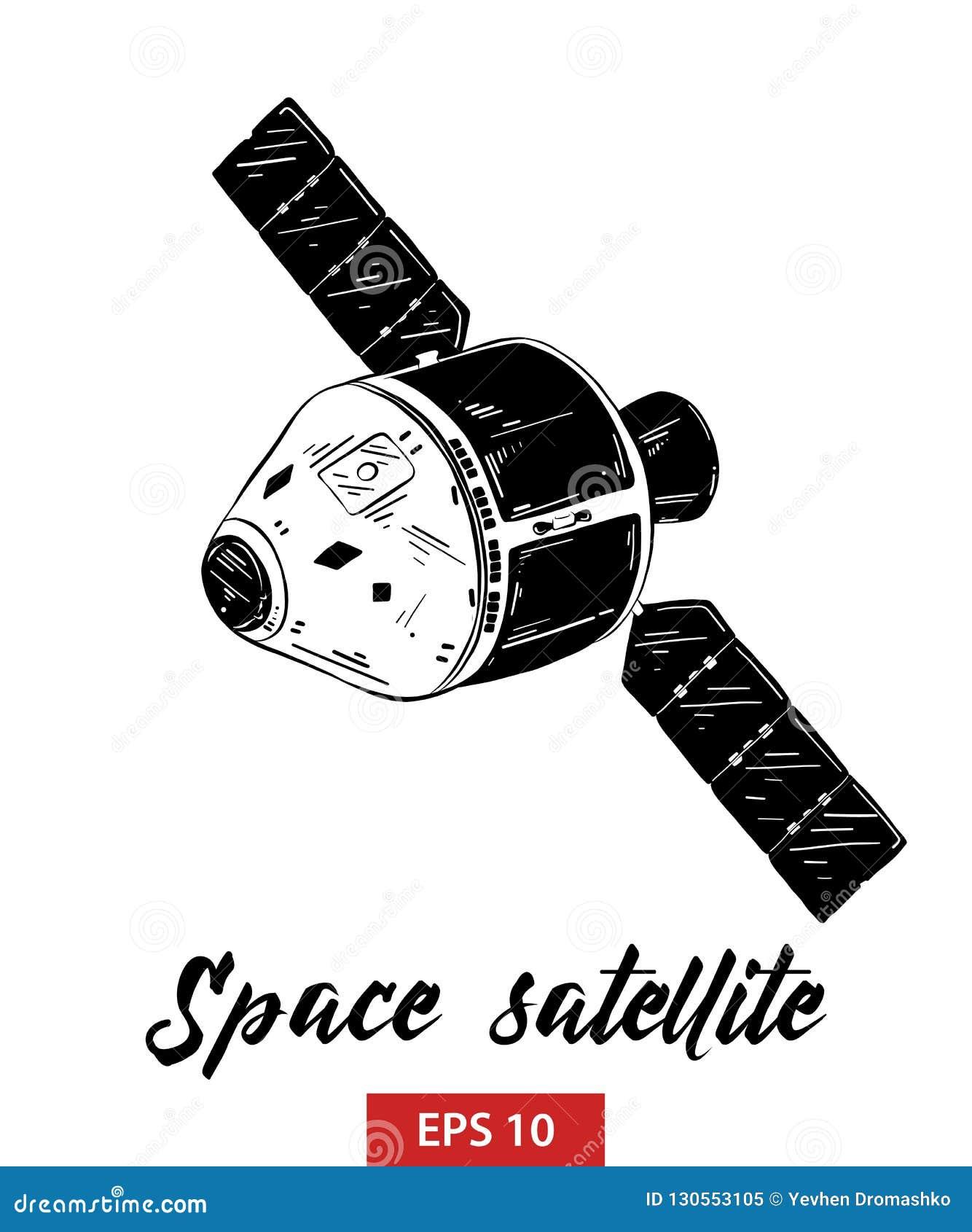 Hand getrokken schets van ruimtediesatelliet in zwarte op witte achtergrond wordt geïsoleerd De gedetailleerde uitstekende tekeni