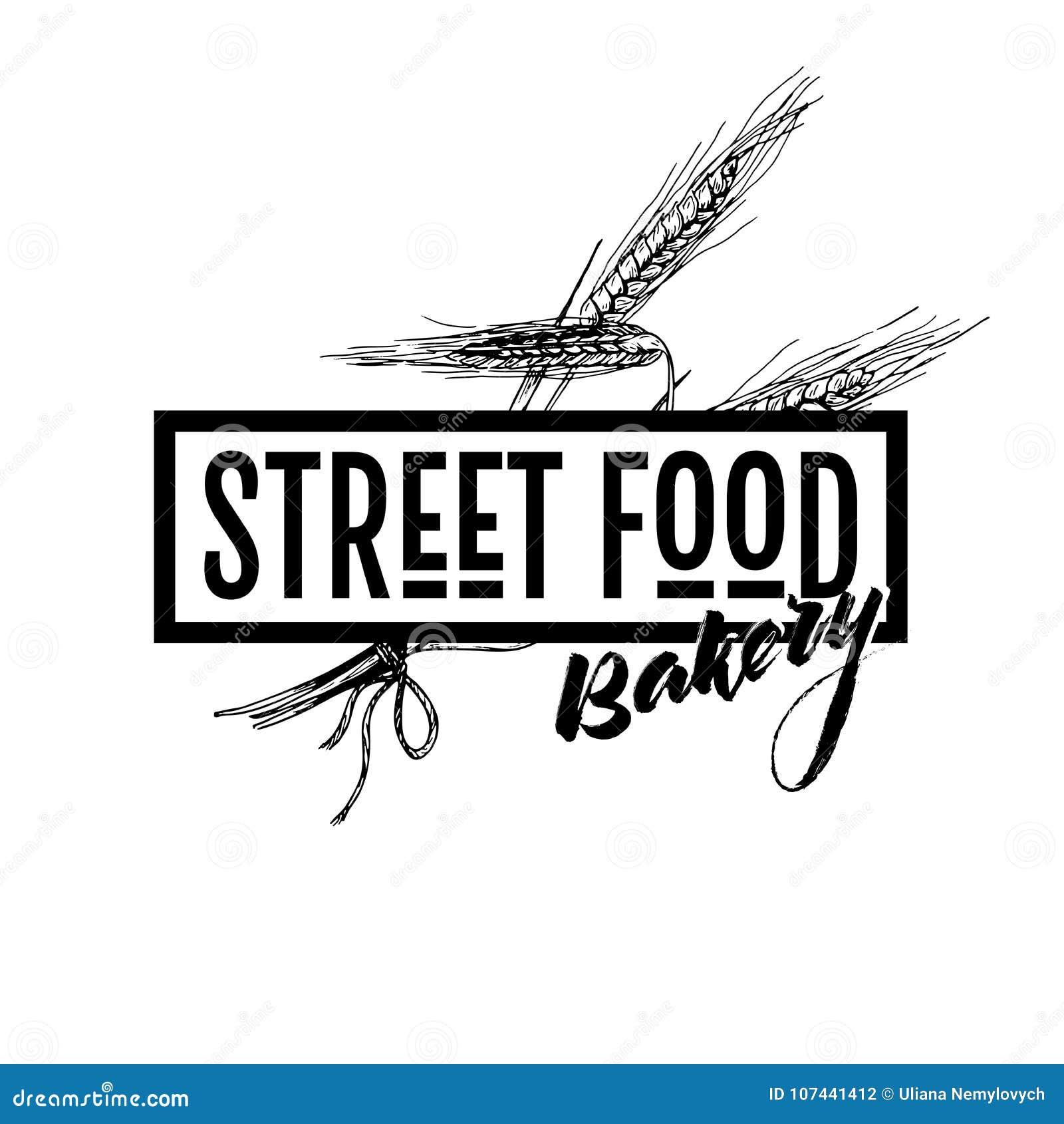 Hand getrokken snel voedselbanner Het ontworpen embleem van het straatvoedsel bakkerij met tarwe ers Gegraveerde vectorillustrati