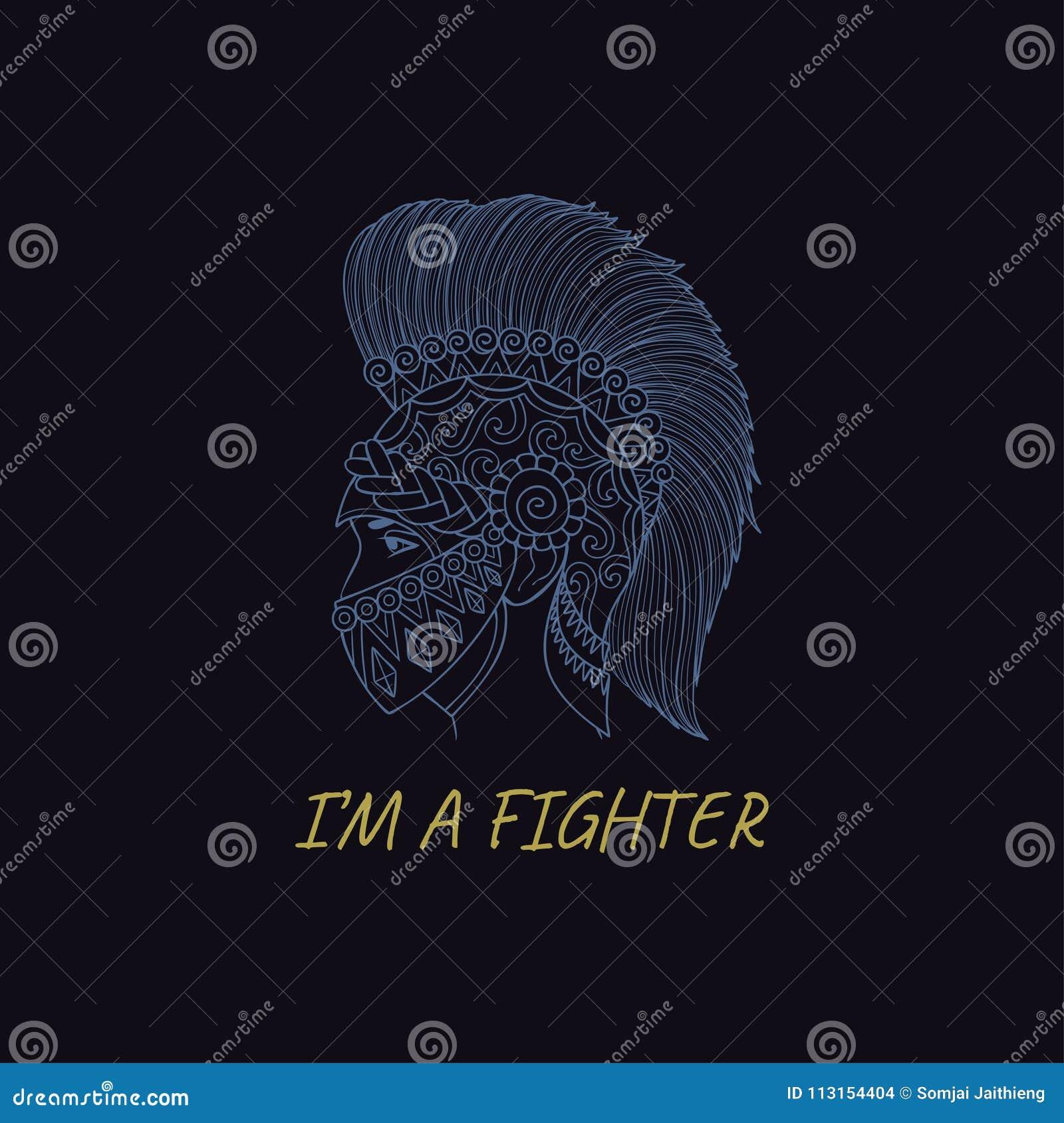 Hand getrokken Spartan Helmet, Griekse strijder met slogan BEN ik een VECHTER of t-shirtdruk en borduurwerk, Grafisch T-stuk en g
