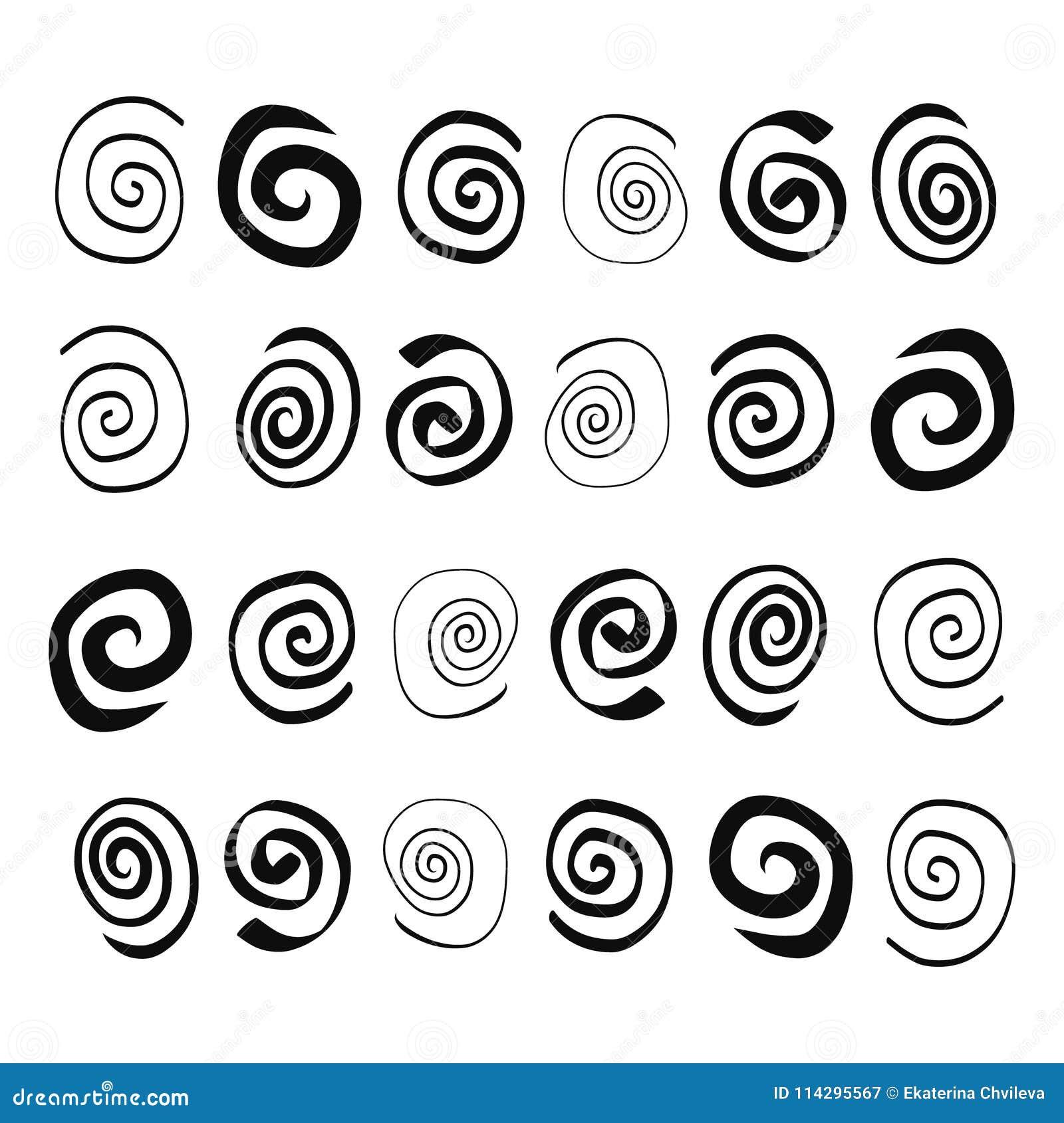 Hand getrokken Spiralen in verschillende vormen