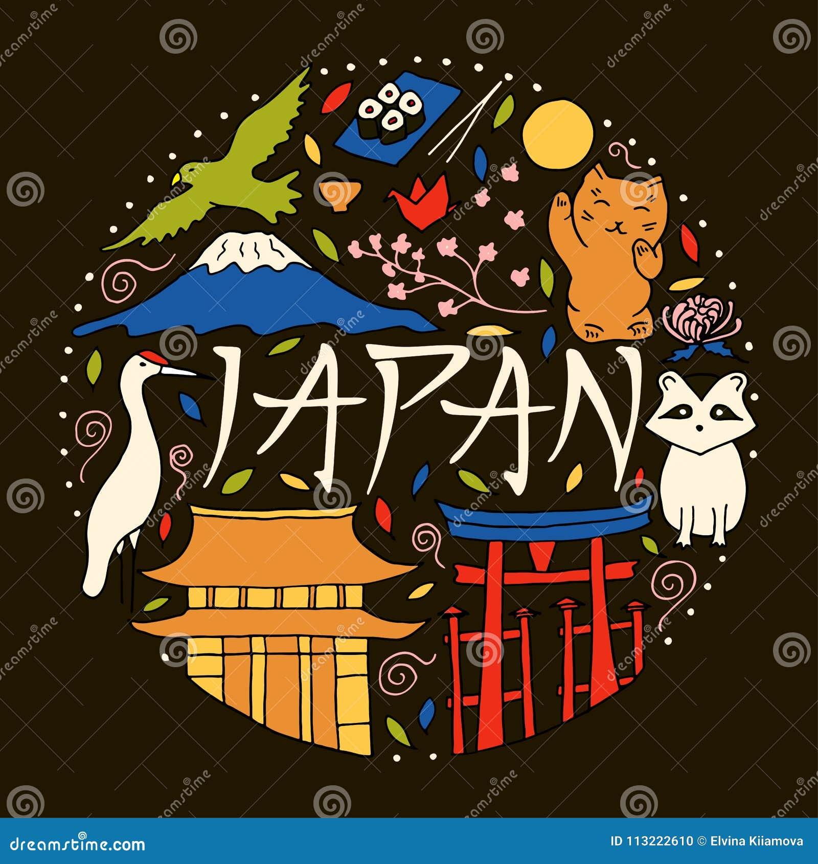 Hand getrokken symbolen van Japan Japanse cultuur en architectuur