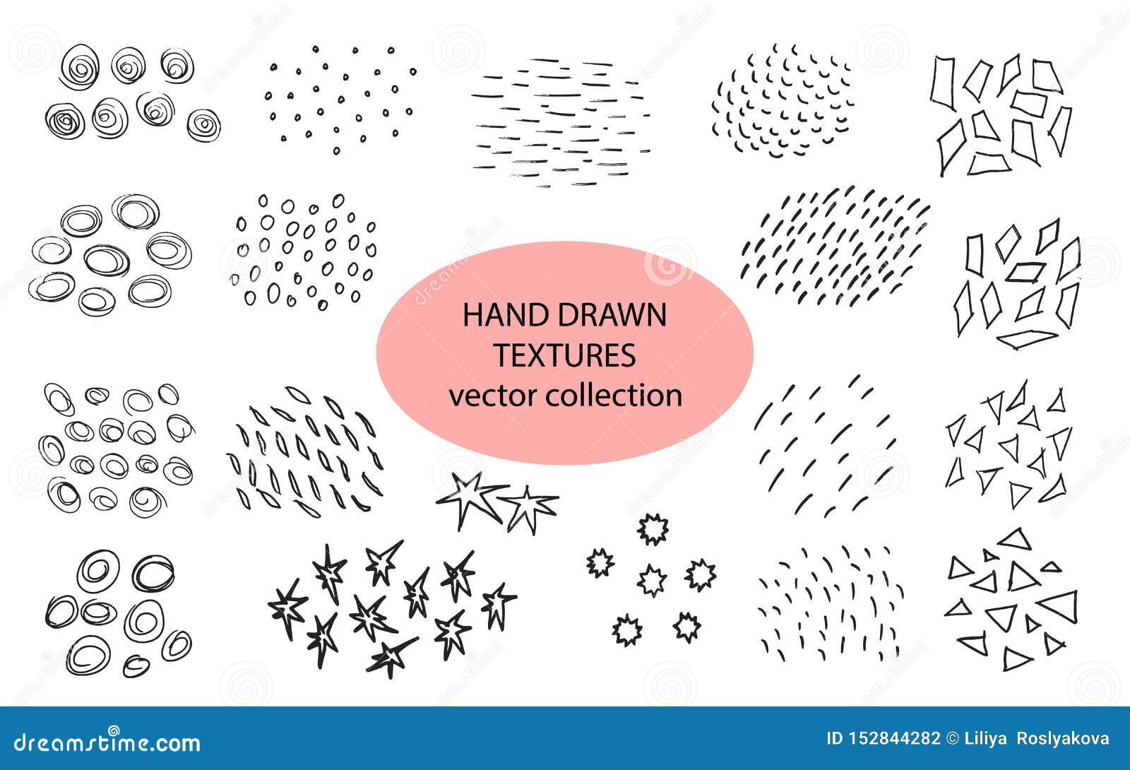 Hand Getrokken Texturen, Malplaatje Vector ontwerpelementen De reeks van achtergrondtextuur, punten, slagen, cirkels, lijnen, spe