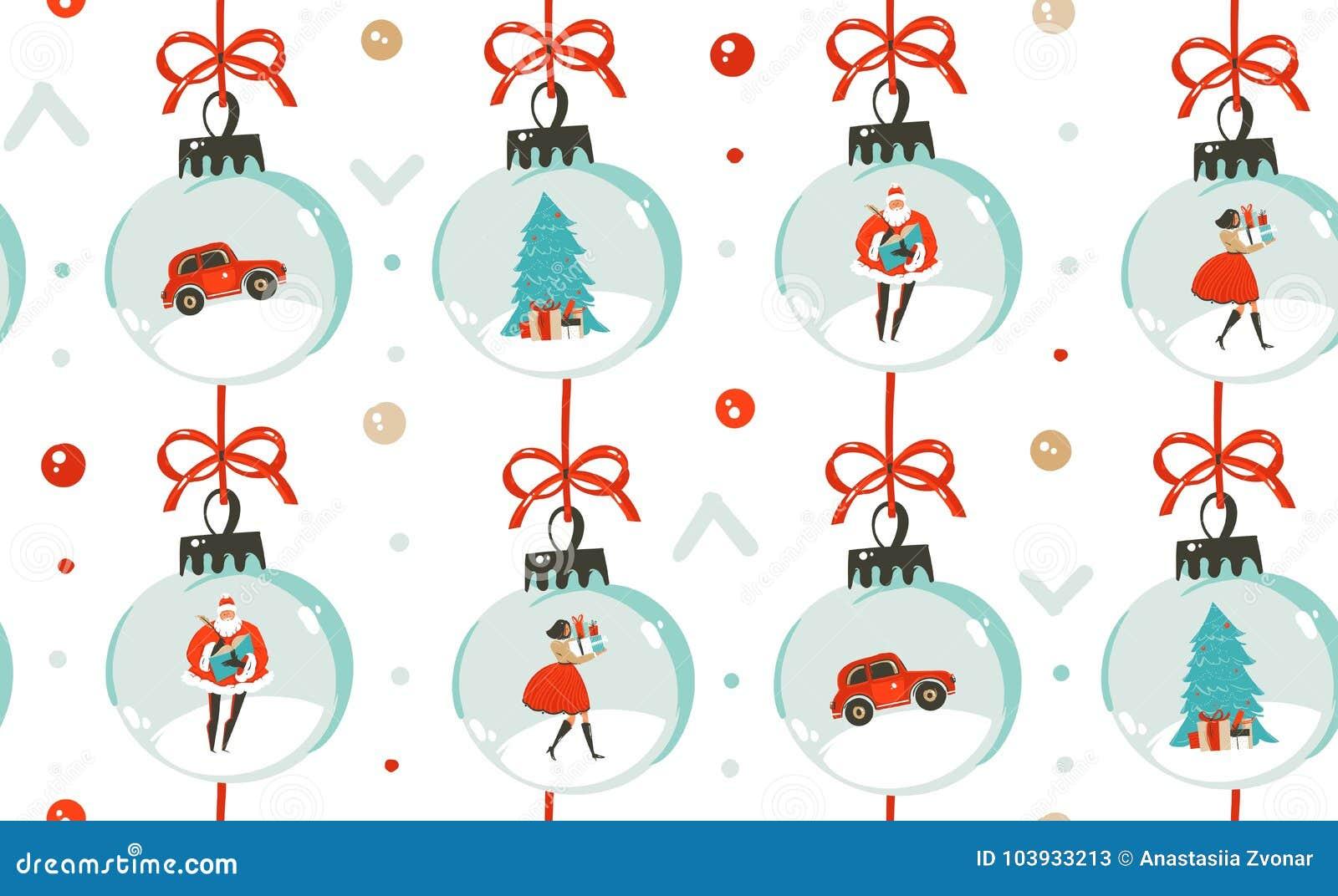 Hand getrokken vector abstract van het de tijdbeeldverhaal van pret Vrolijk Kerstmis de illustratie naadloos patroon met Kerstmis