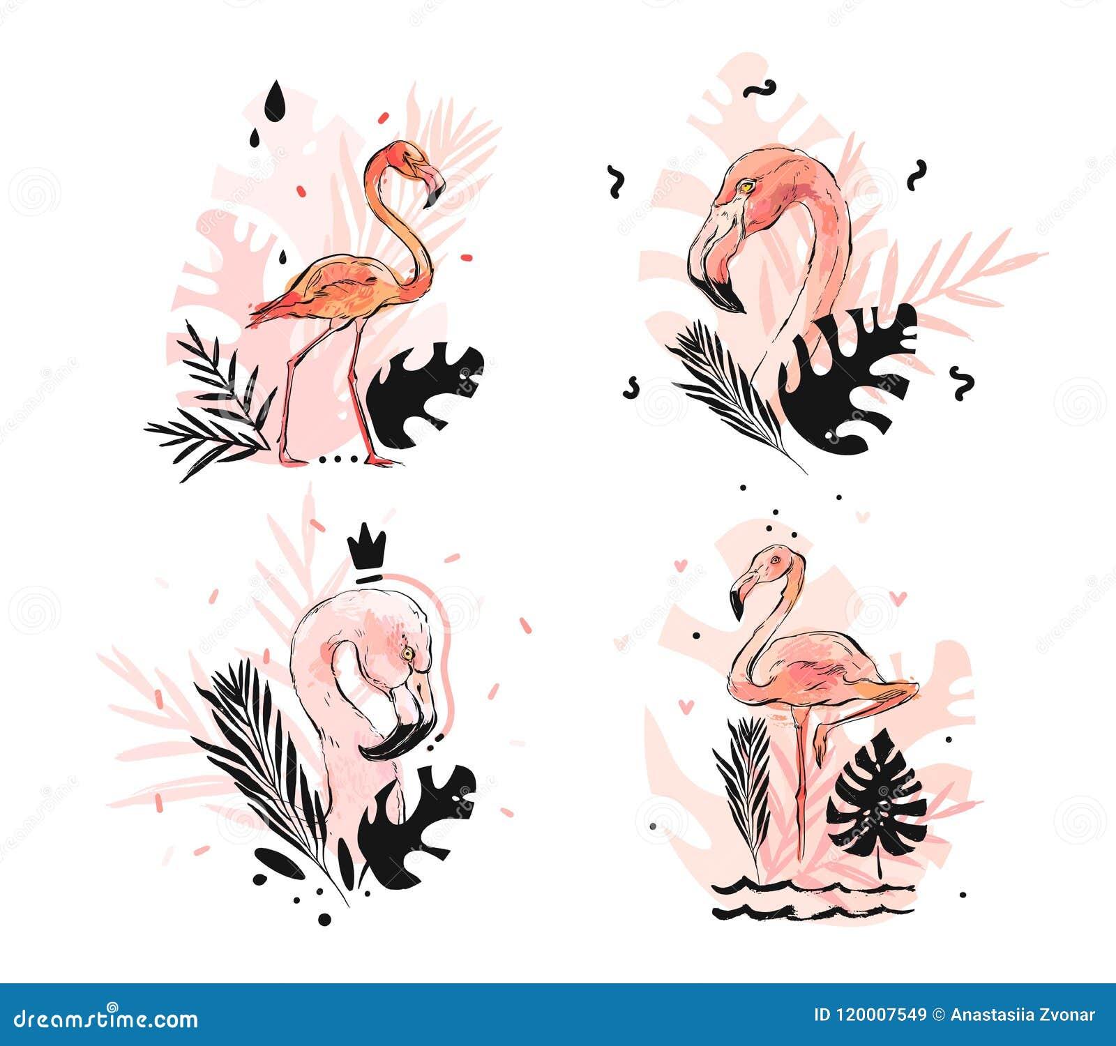 Hand getrokken vector abstracte grafische geweven schets roze flamingo uit de vrije hand en tropische palmbladen die illustratiei