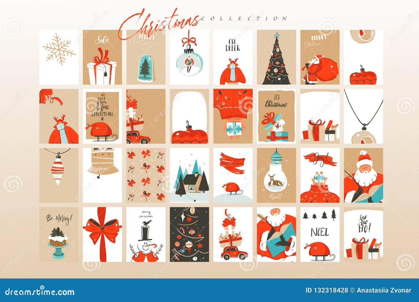 Hand getrokken vector abstracte van het de tijdbeeldverhaal van pret Vrolijke Kerstmis van de de illustratiesgroet groot de kaart