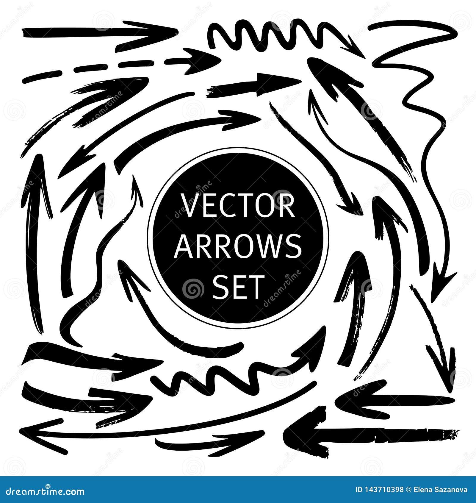 Hand getrokken vector geplaatste pijlen