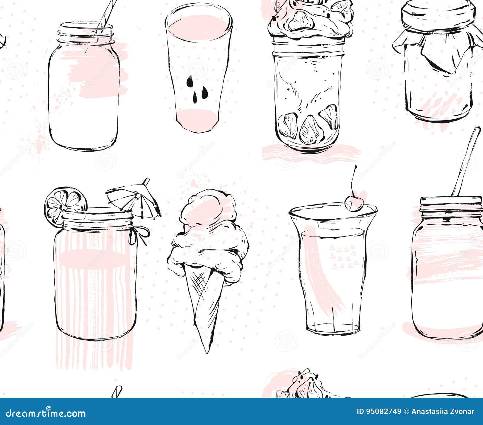 Hand getrokken vector grafisch naadloos patroon met roomijs, glaskruik, smoothie, milkshake, limonade, jam en coctails