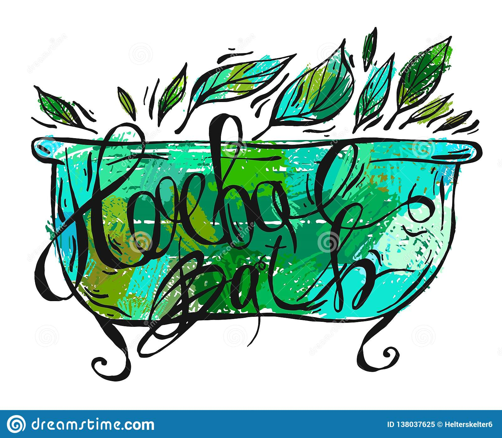 Hand getrokken vector kruidenbadillustratie Kruidenetiketten voor handroom, ontspanningsolie en de doos van het badschuim naughty