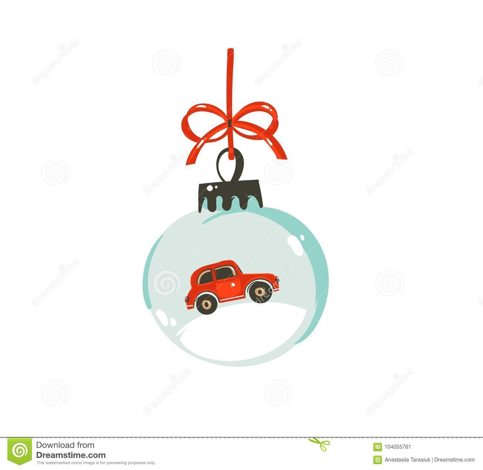 Hand getrokken vector Vrolijk van de het beeldverhaal grafisch illustratie van de Kerstmistijd het ontwerpelement met de bolbal v