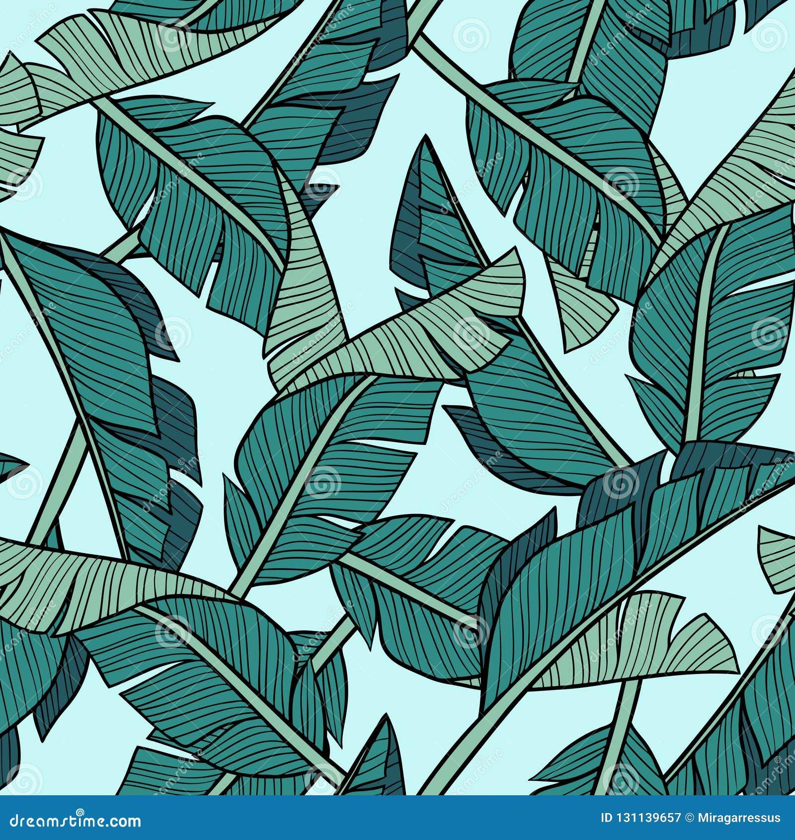 Hand getrokken vectorbanaanbladeren op lichtblauwe achtergrond