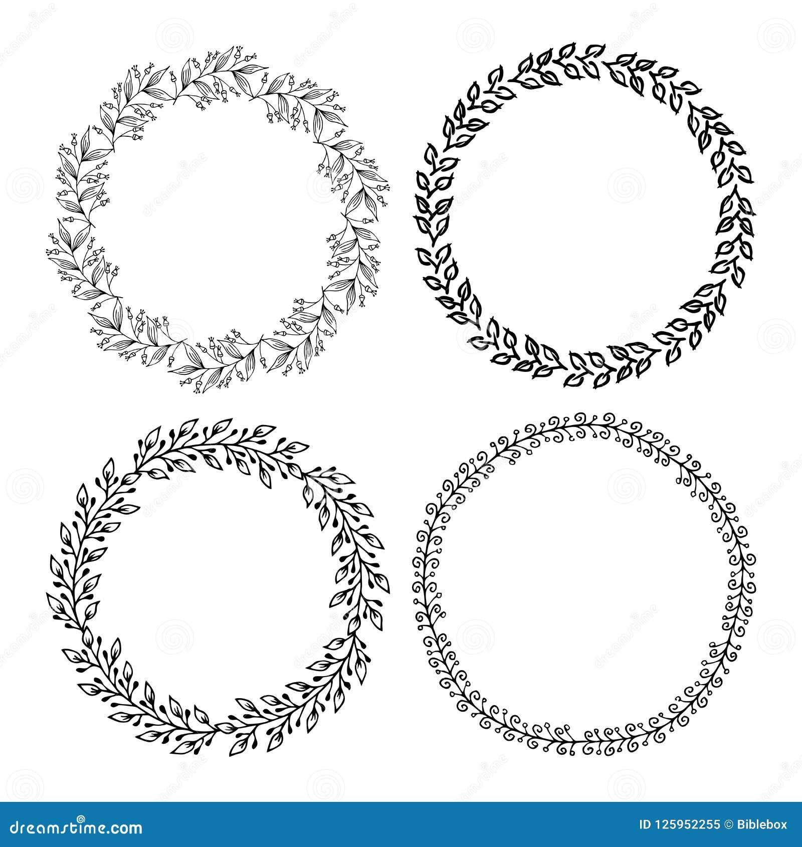 Hand getrokken vectorillustratie - Laurels en kronen Ontwerpelementen voor uitnodigingen, groetkaarten, citaten, bloggen, affiche
