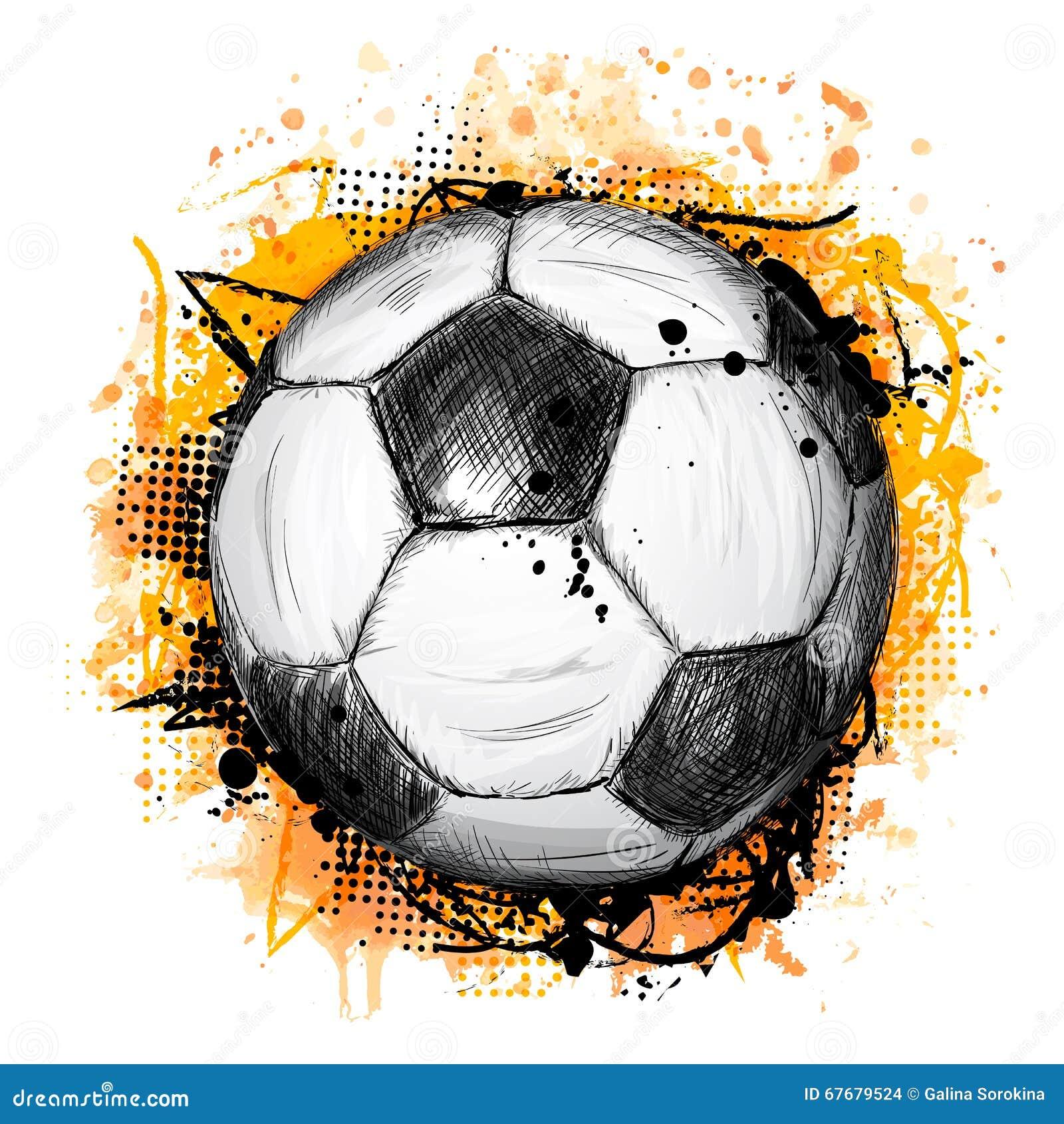 Hand getrokken vectorillustratie met voetbalbal en grunge