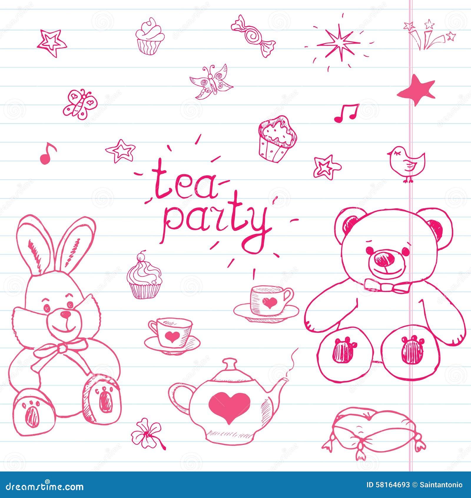 Hand getrokken vectorillustratiereeks van theekransje met gevuld speelgoed, theepot, koppen, pannekoeken, snoepjesvogels en vlind