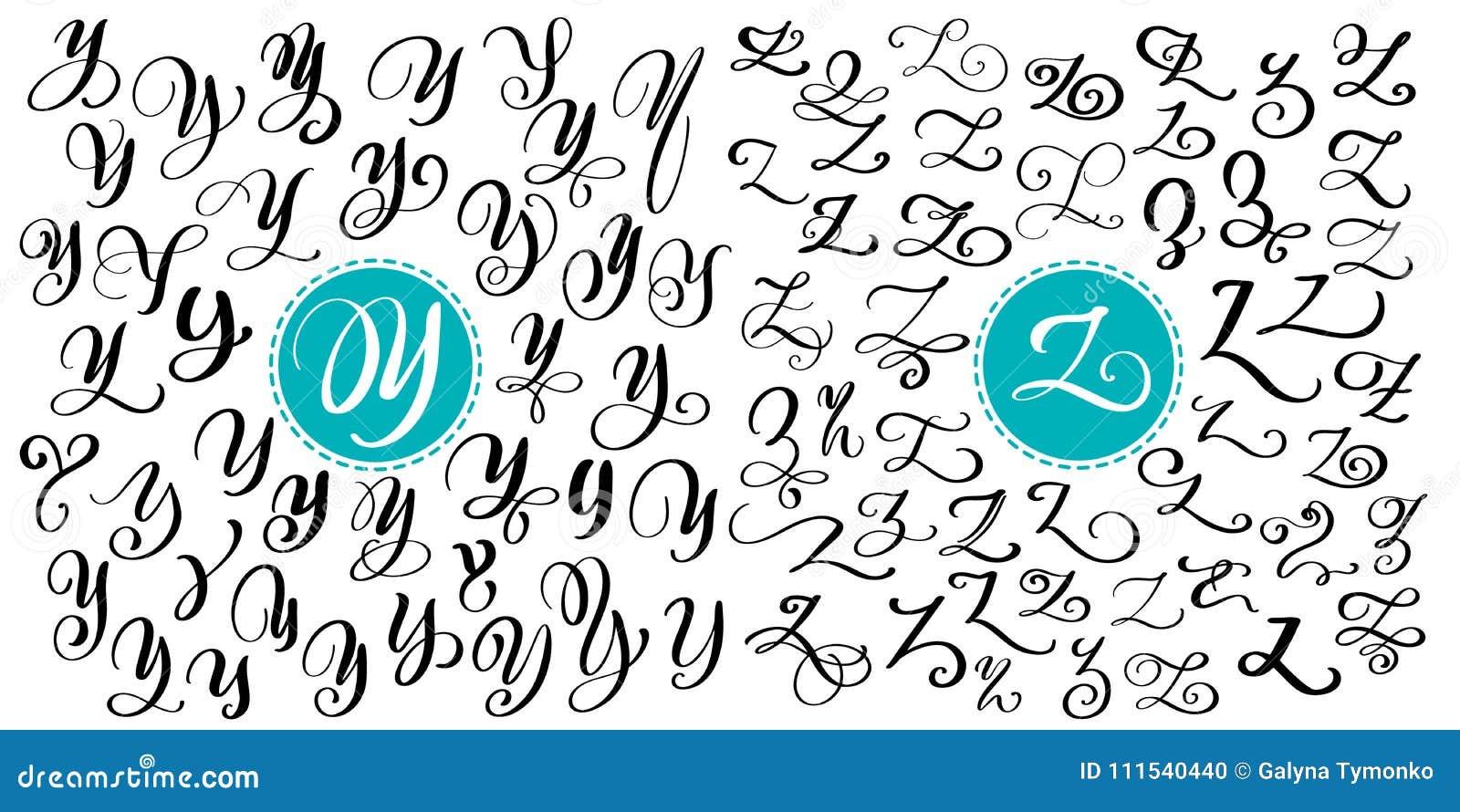Hand getrokken vectorkalligrafiebrief Y, Z Manuscriptdoopvont Geïsoleerde die brieven met inkt worden geschreven Met de hand gesc