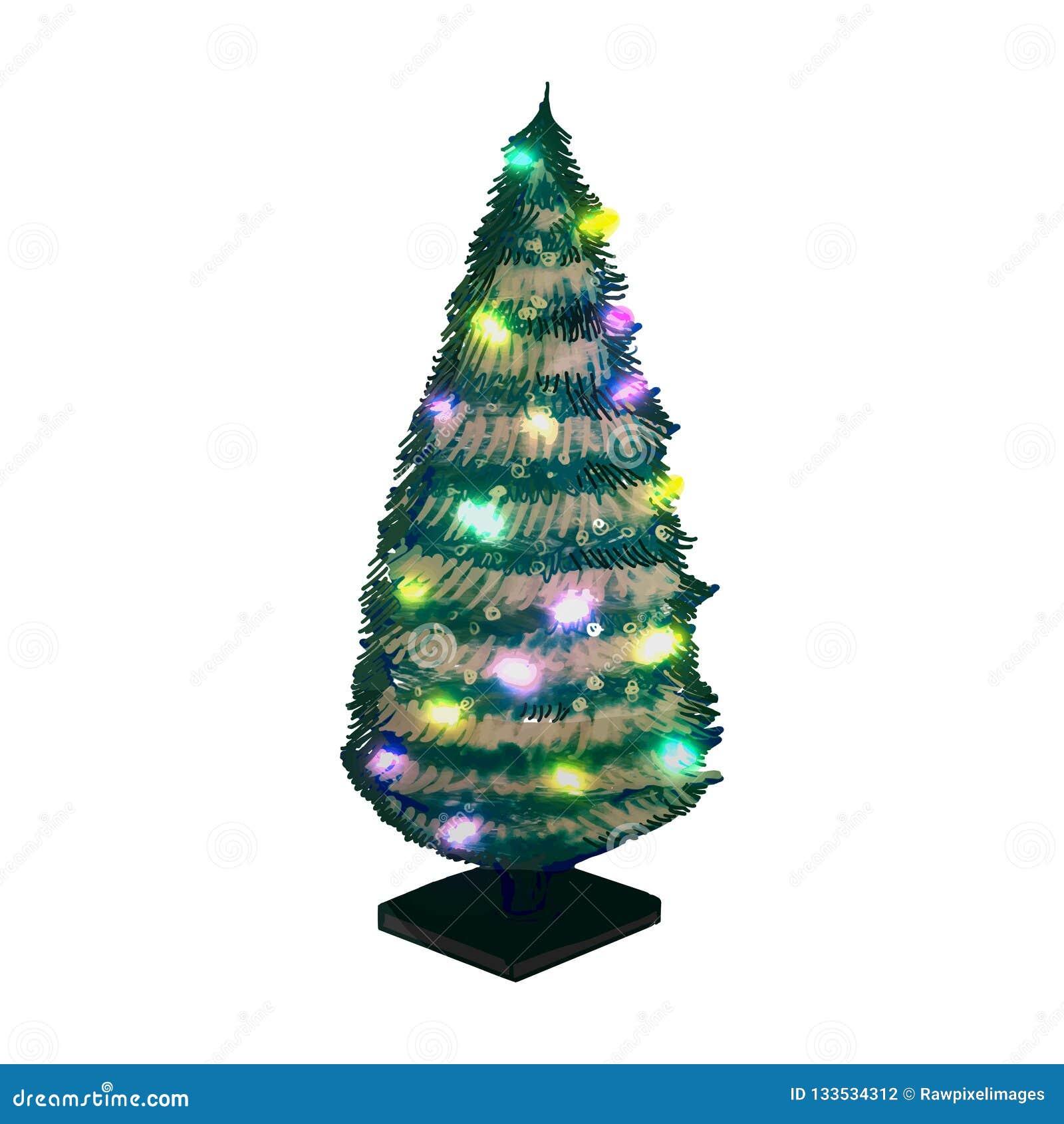 Hand getrokken verfraaide Kerstboom