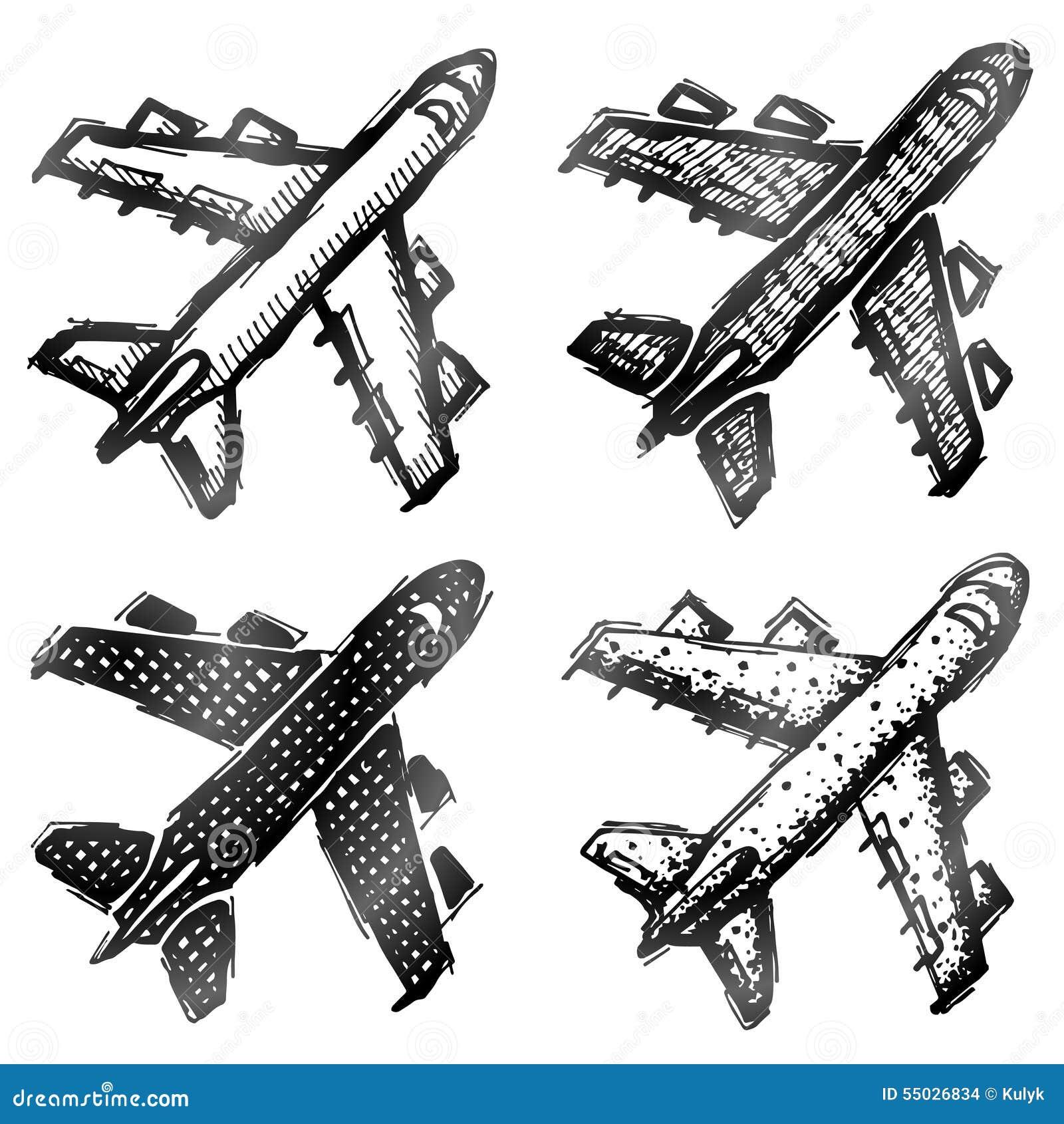 Hand getrokken vliegtuigsymbool, hoogste mening