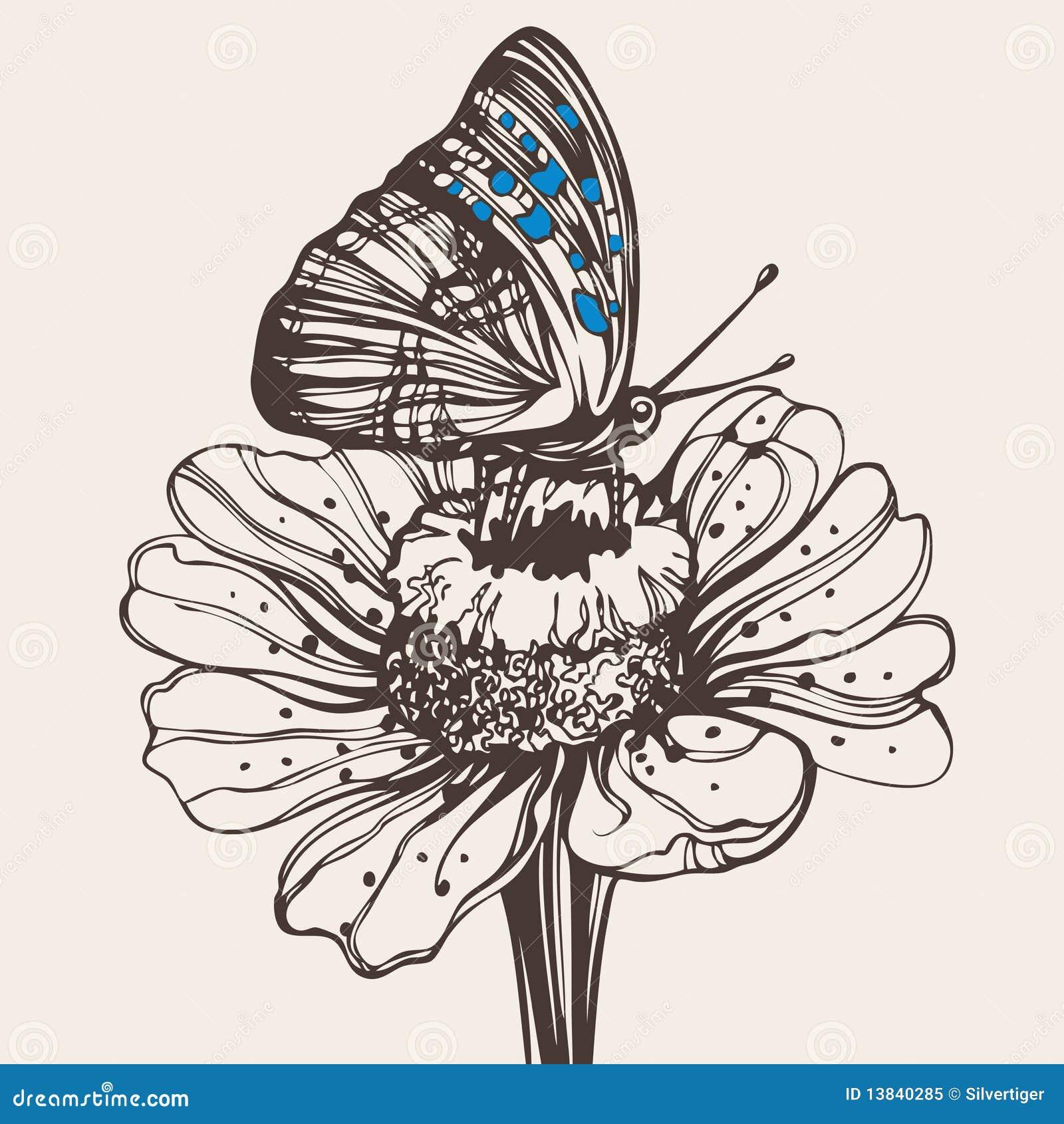 getrokken vlinder op een bloem vector illustratie