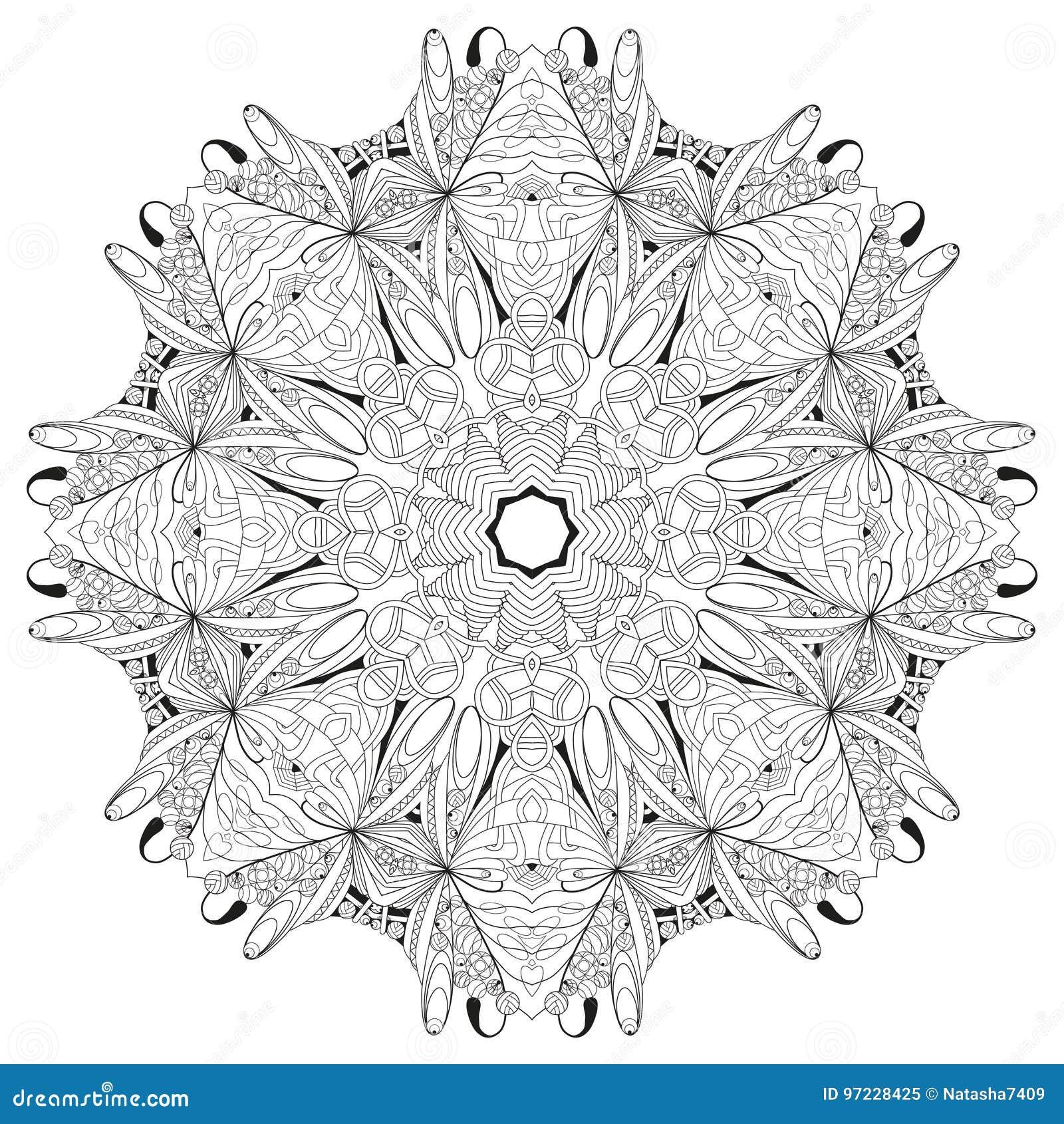 Hand getrokken zentangle mandala voor het kleuren van pagina