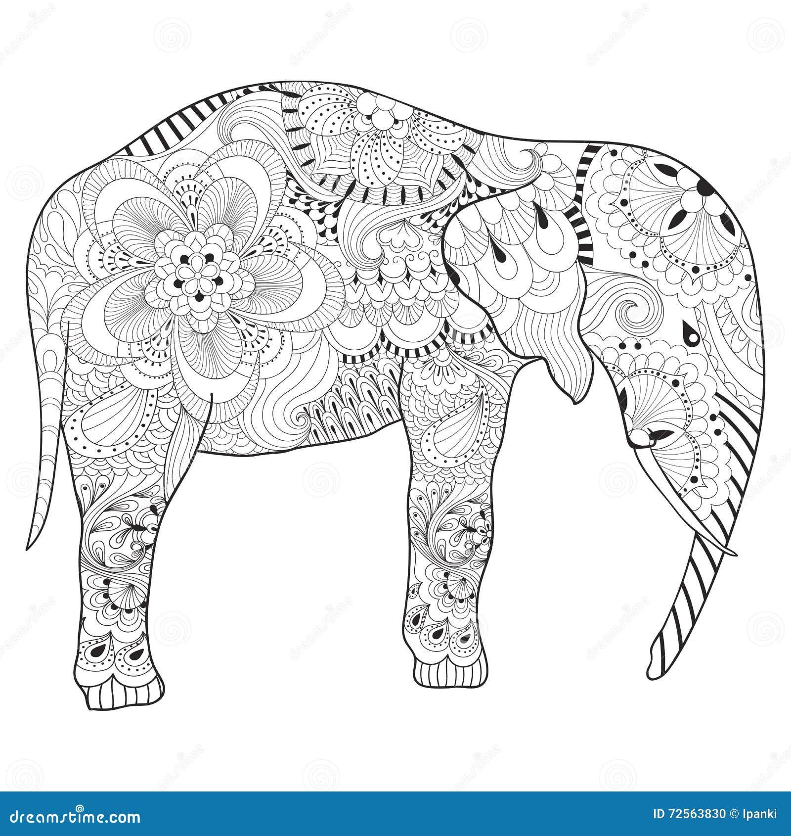 Hand Getrokken Zentangle Olifant Met Mandala Voor